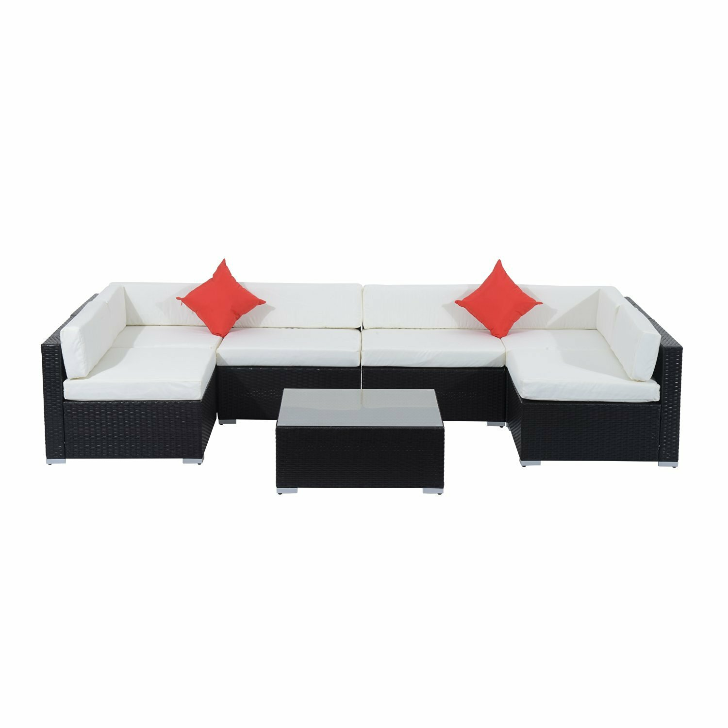 Outsunny Rattan Wicker 7 Piece Sofa Seating Group With