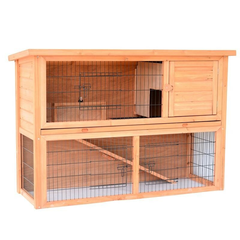 Pawhut rabbit hutch bunny house with lower outdoor run for What is a rabbit hutch