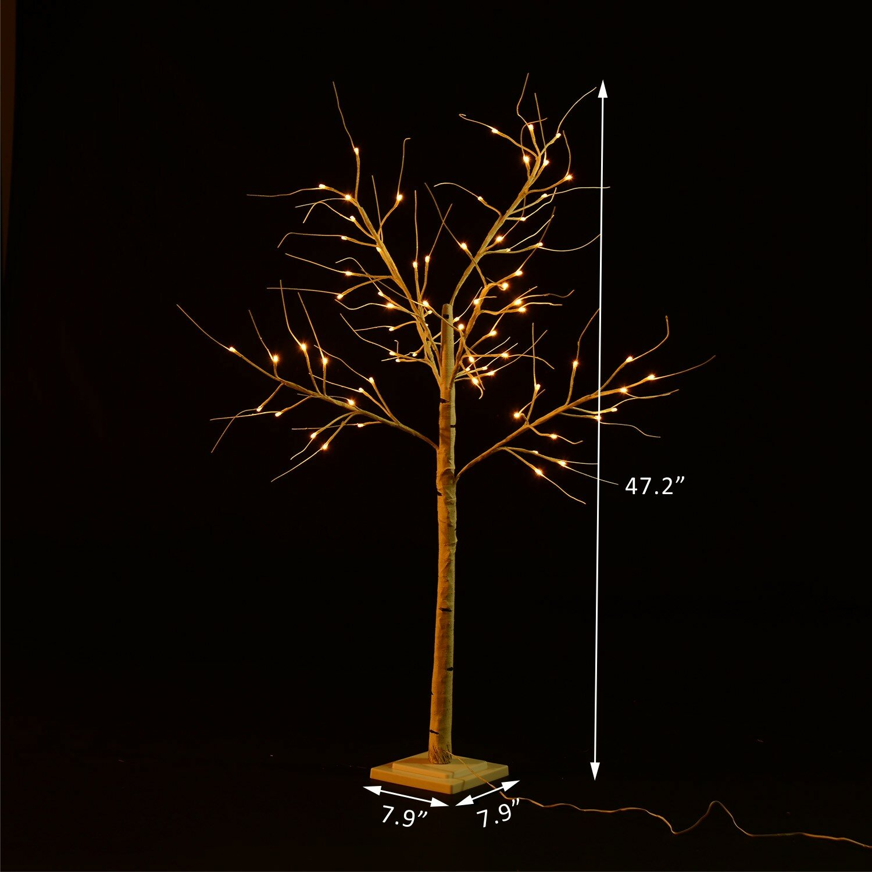homcom 47 2 48 led light up holiday indoor accent birch tree wayfair. Black Bedroom Furniture Sets. Home Design Ideas