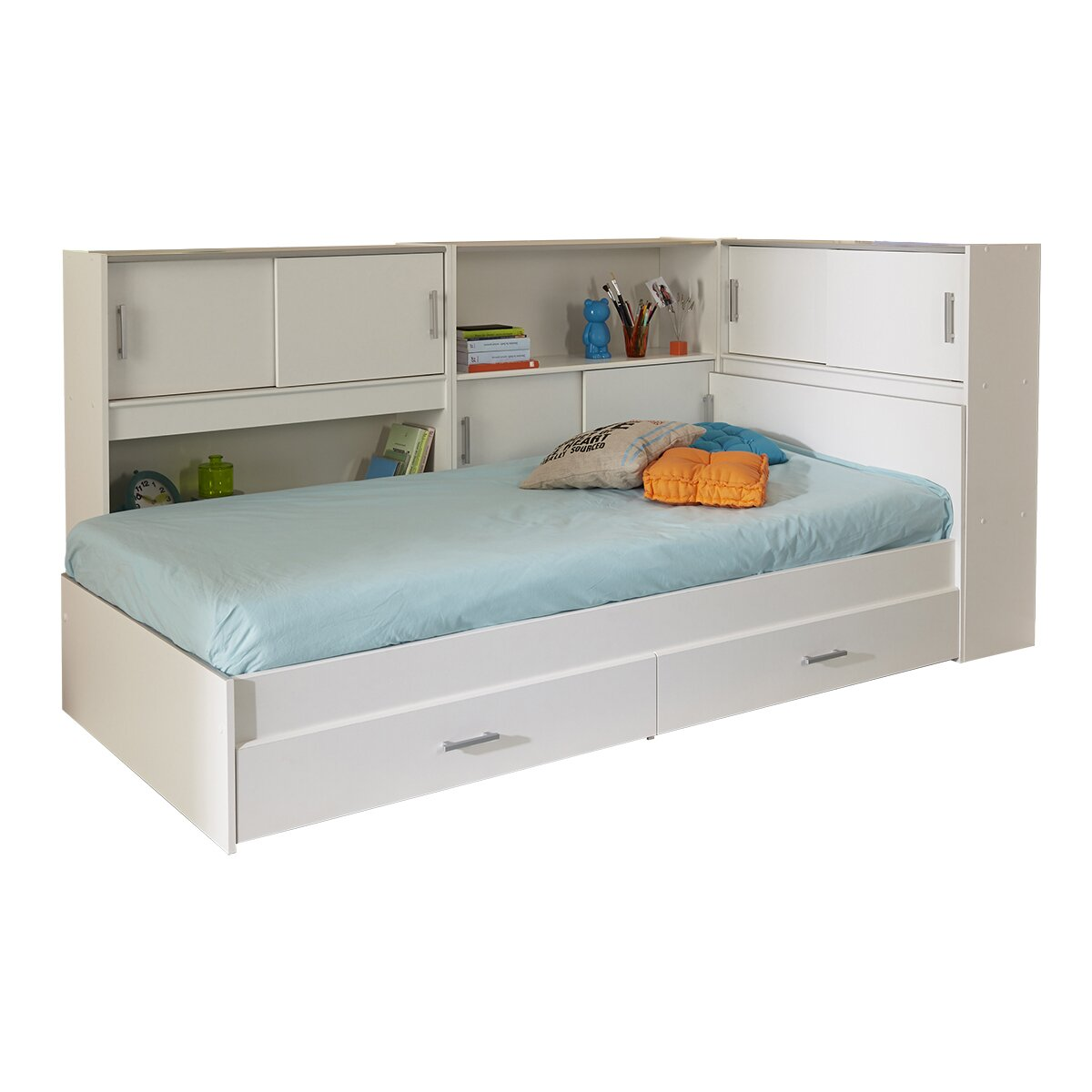 Parisot snoop twin bed with storage wayfair supply for Double bed with storage and mattress