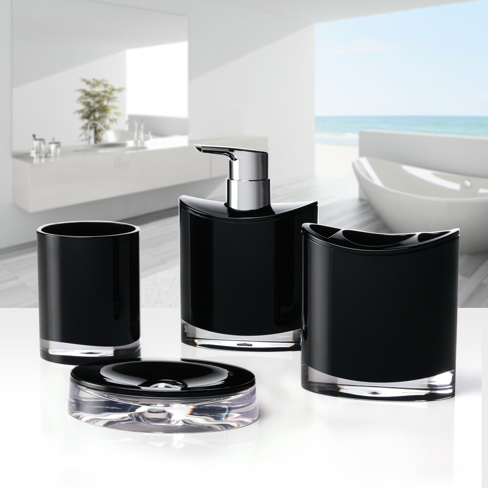 Immanuel optic 4 piece bathroom accessory set reviews for Bath accessory sets