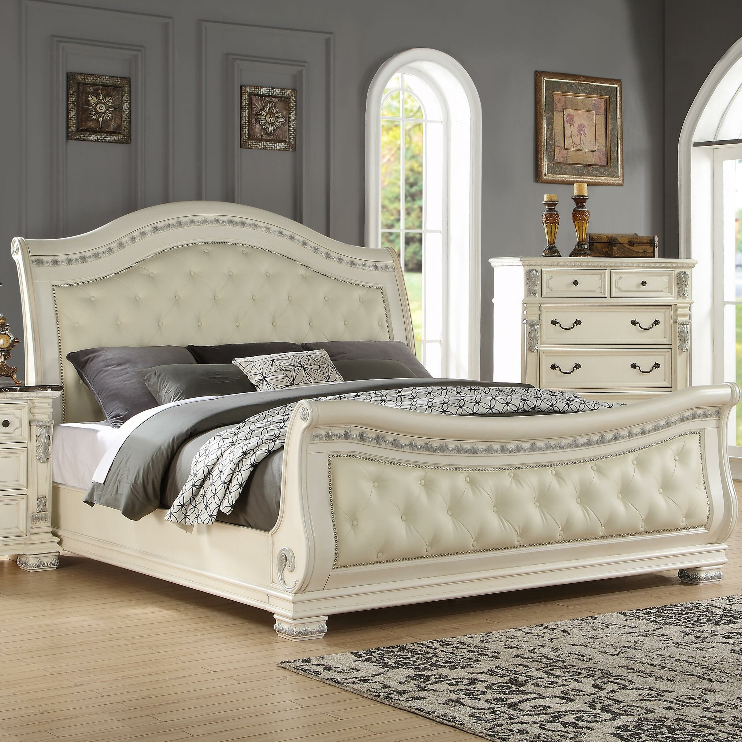 wayfair sleigh bed fairfax home collections alexandra upholstered sleigh bed 13801