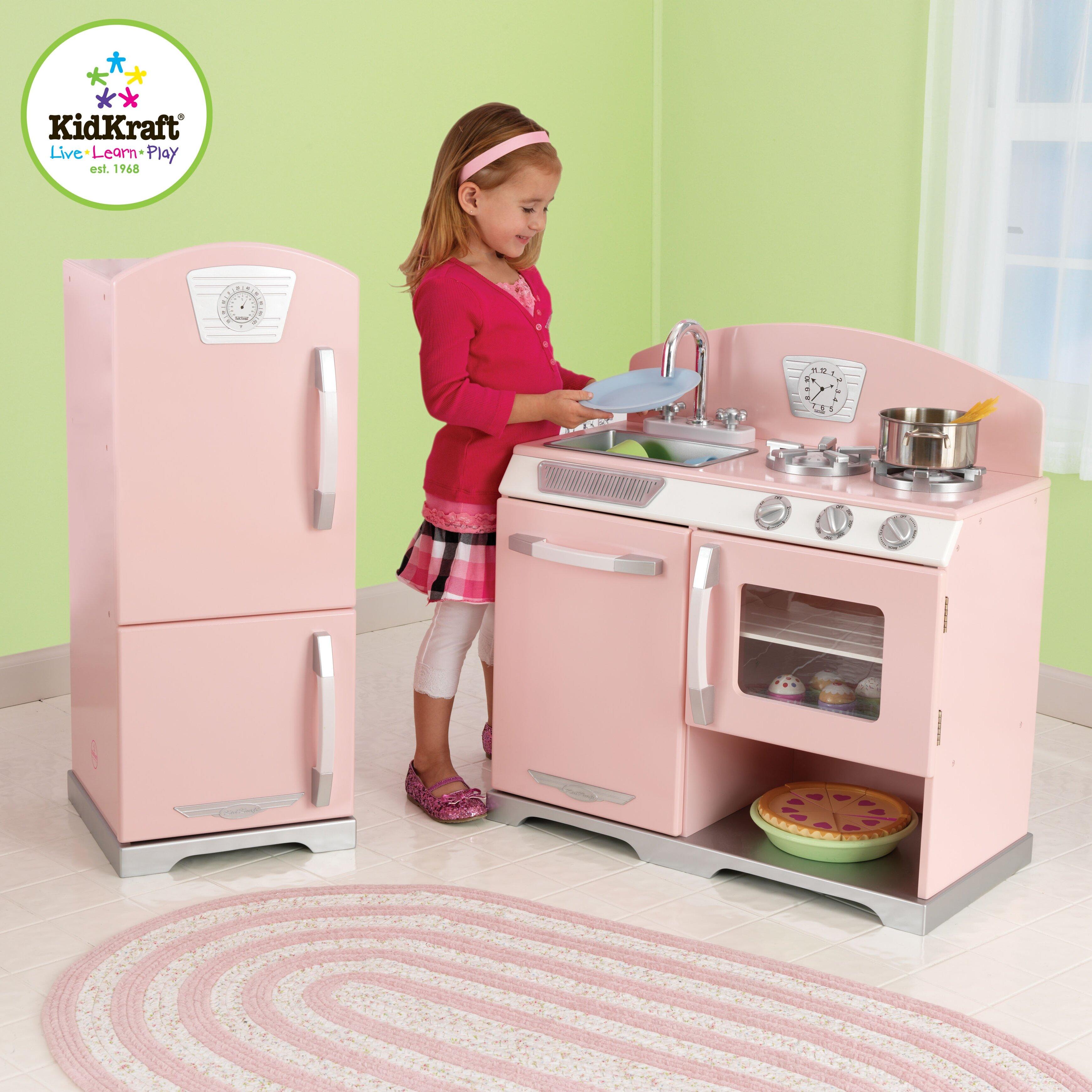 Kidkraft 2 Piece Retro Kitchen And Refrigerator Set Reviews Wayfair