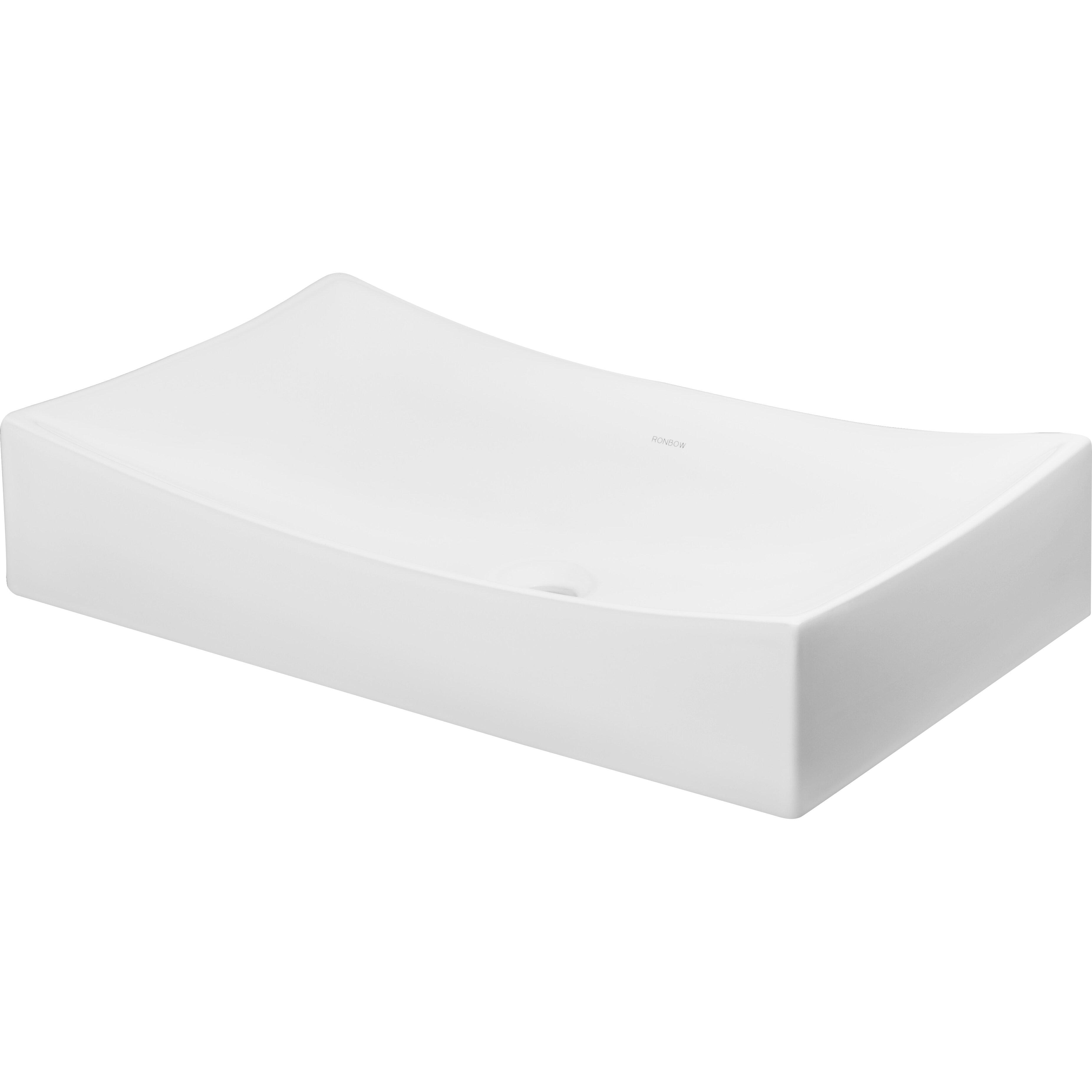 Ronbow rectangular ceramic vessel bathroom sink in white - Rectangular sinks bathroom vessel ...