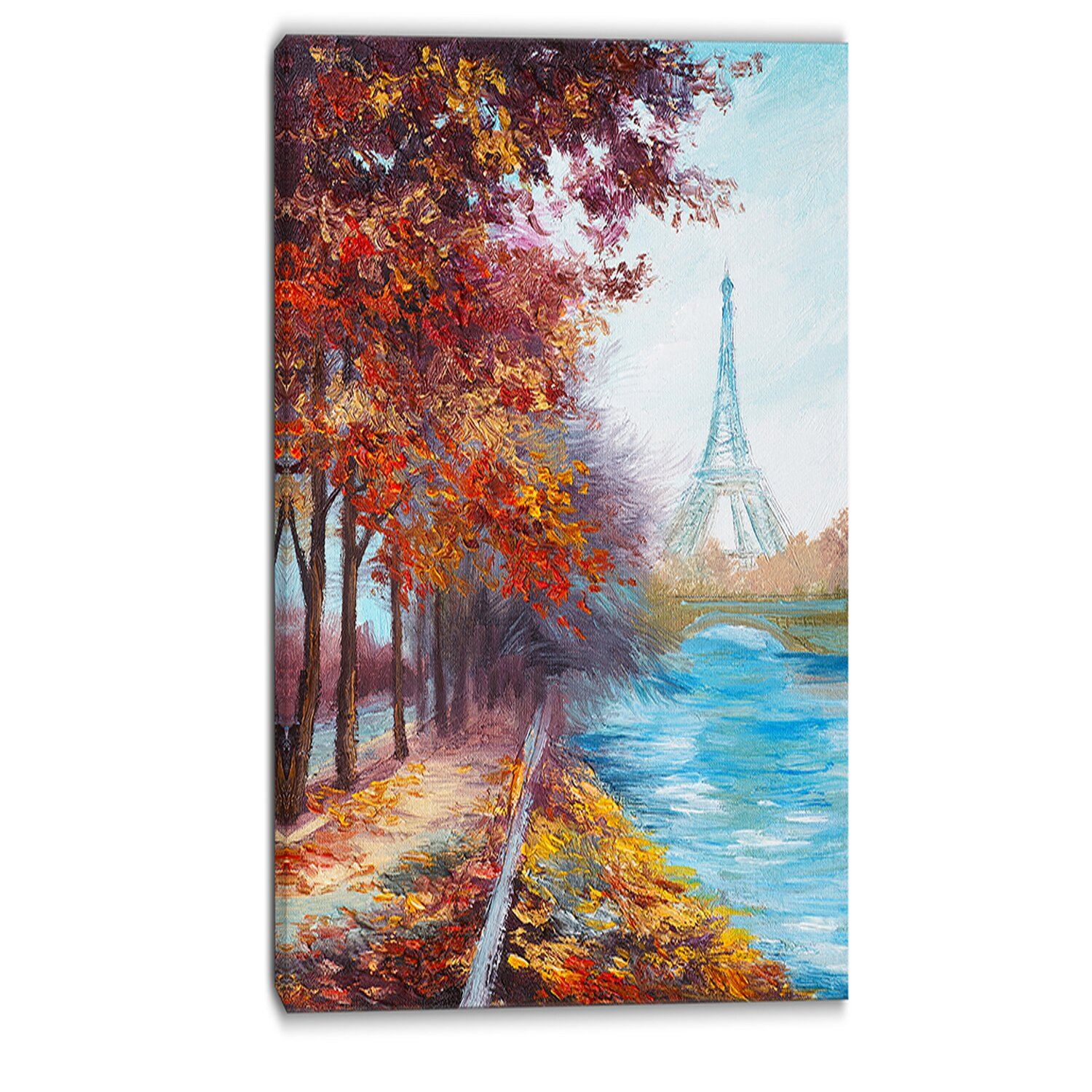 Designart Eiffel Tower View In Fall Landscape Painting