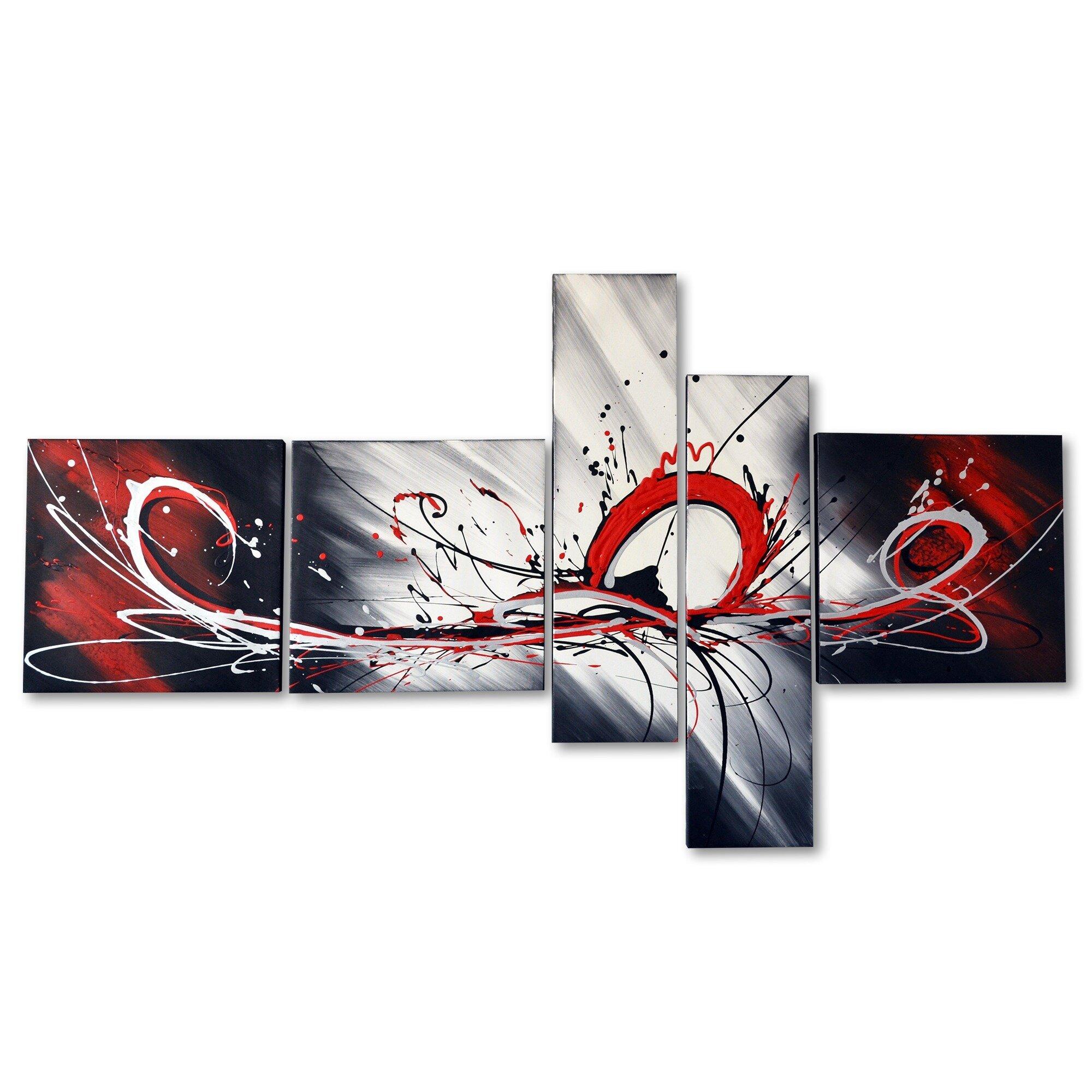 DesignArt Splash Abstract 5 Piece Original Painting on ...