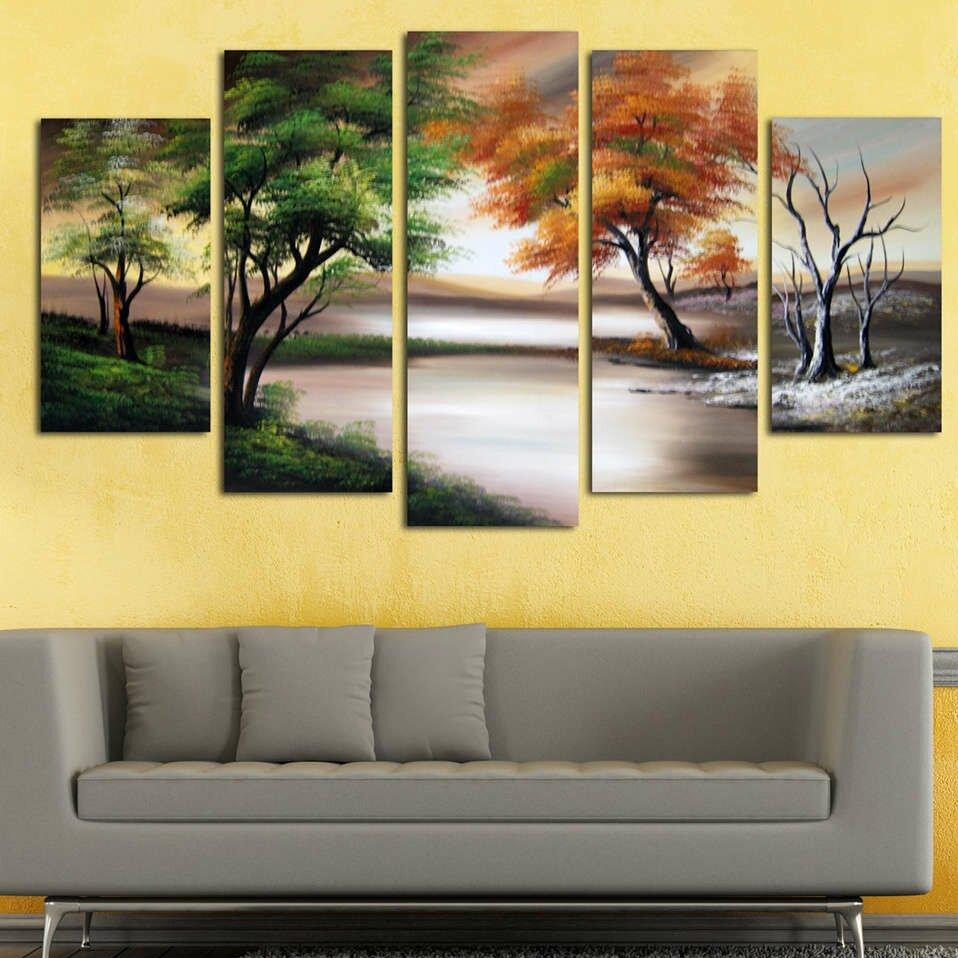 designart seasons by the lake landscape 5 piece original painting on canvas set reviews. Black Bedroom Furniture Sets. Home Design Ideas