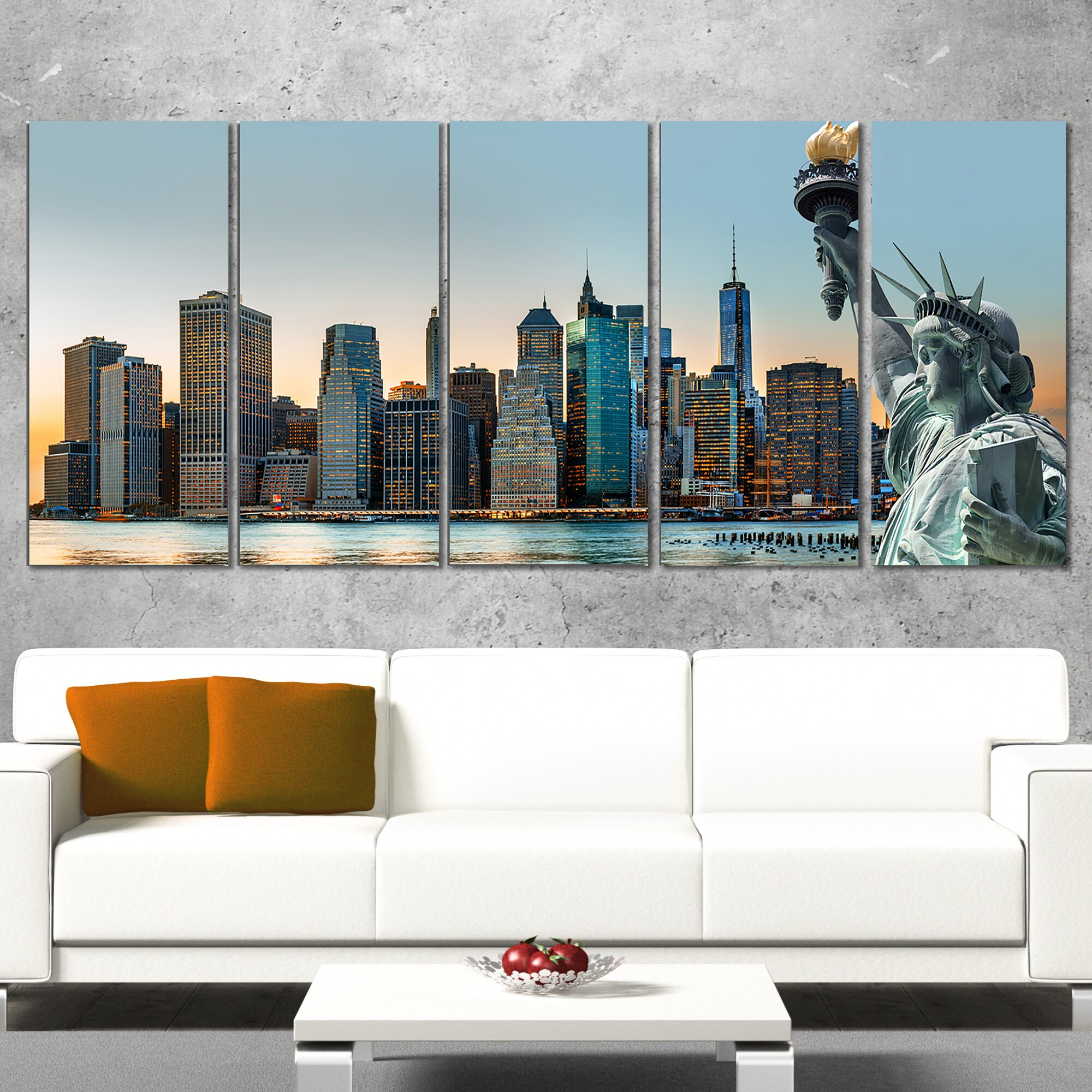 Designart New York City Skyline Panorama 5 Piece Wall