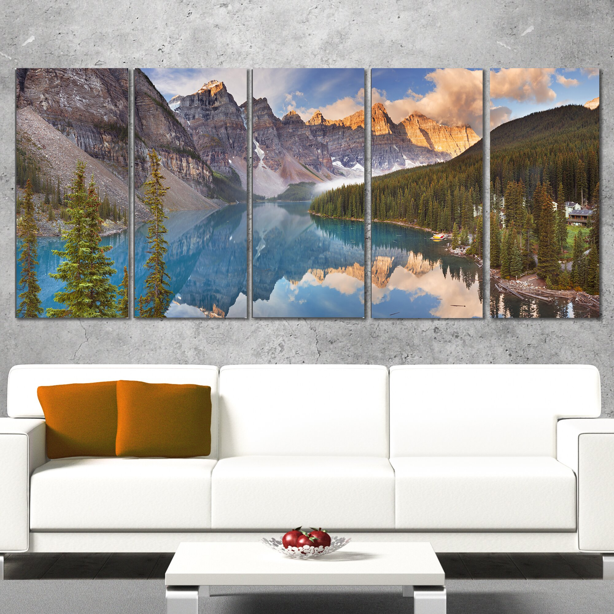 Designart moraine lake in banff park canada 5 piece wall for Wayfair home decor canada