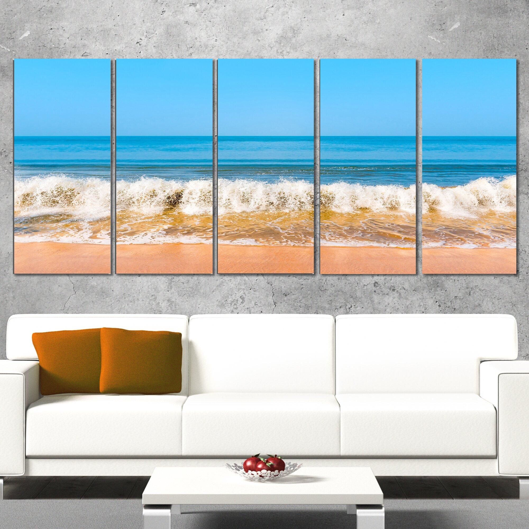 designart beautiful blue sea and roaring waves 5 piece wall art on wrapped canvas set wayfair. Black Bedroom Furniture Sets. Home Design Ideas