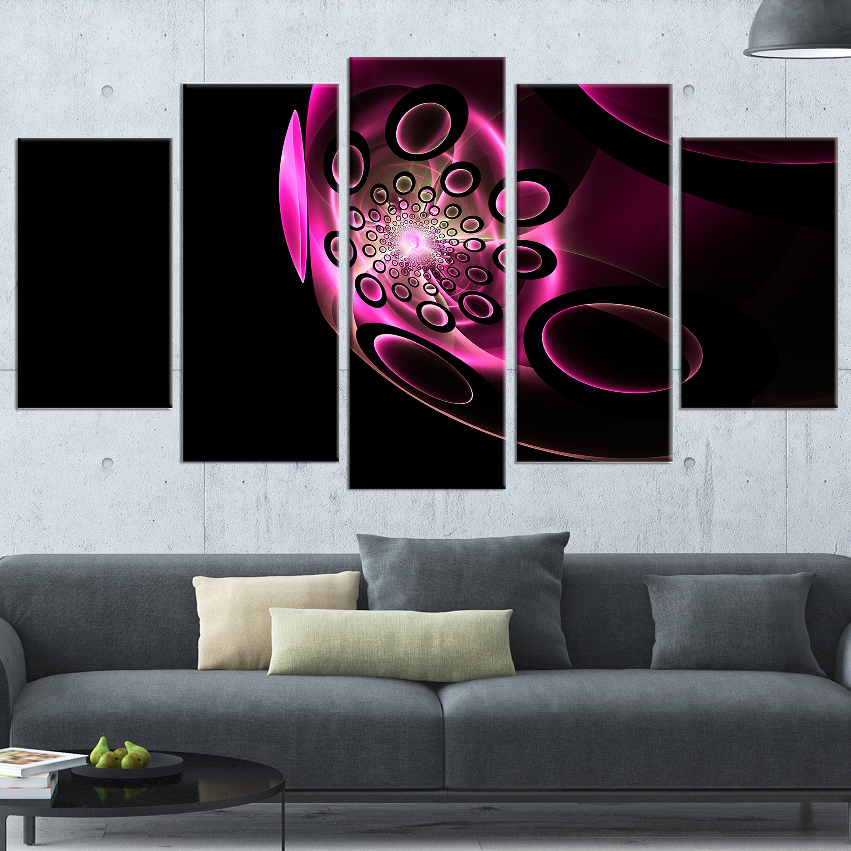 Wall Decor Set Of 5 : Designart purple fractal sphere in dark piece wall art