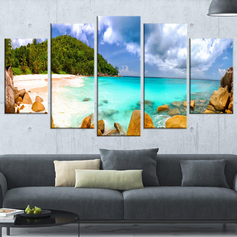 designart 39 seychelles beach panorama 39 5 piece wall art on wrapped canvas set wayfair. Black Bedroom Furniture Sets. Home Design Ideas