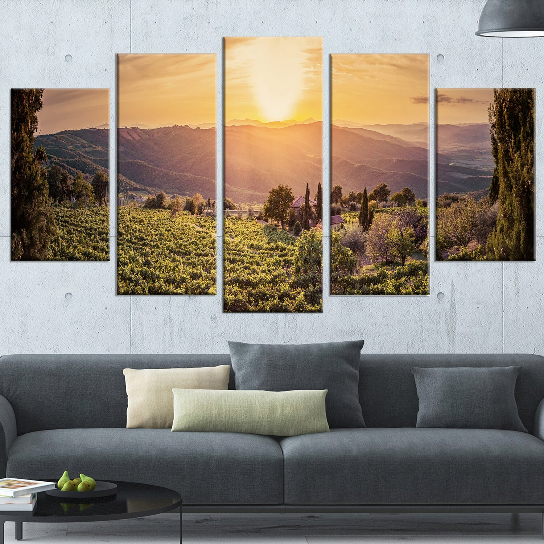 designart 39 vine farm at sunset tuscany panorama 39 5 piece wall art on wrapped canvas set wayfair. Black Bedroom Furniture Sets. Home Design Ideas