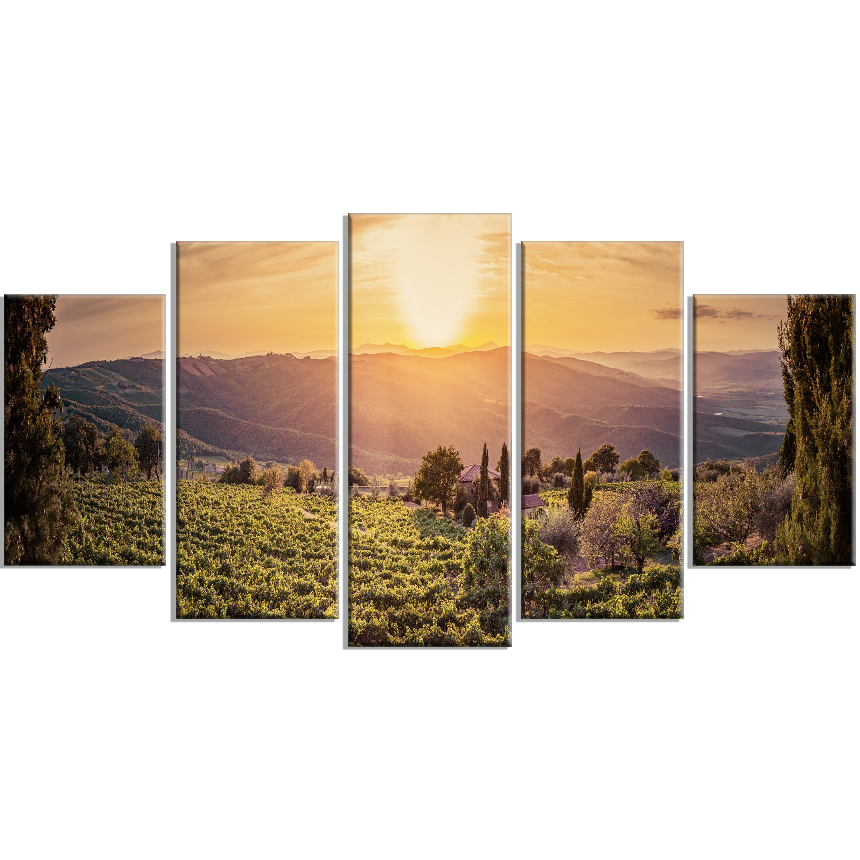 Video Game Bedroom Decor Designart Vine Farm At Sunset Tuscany Panorama 5 Piece