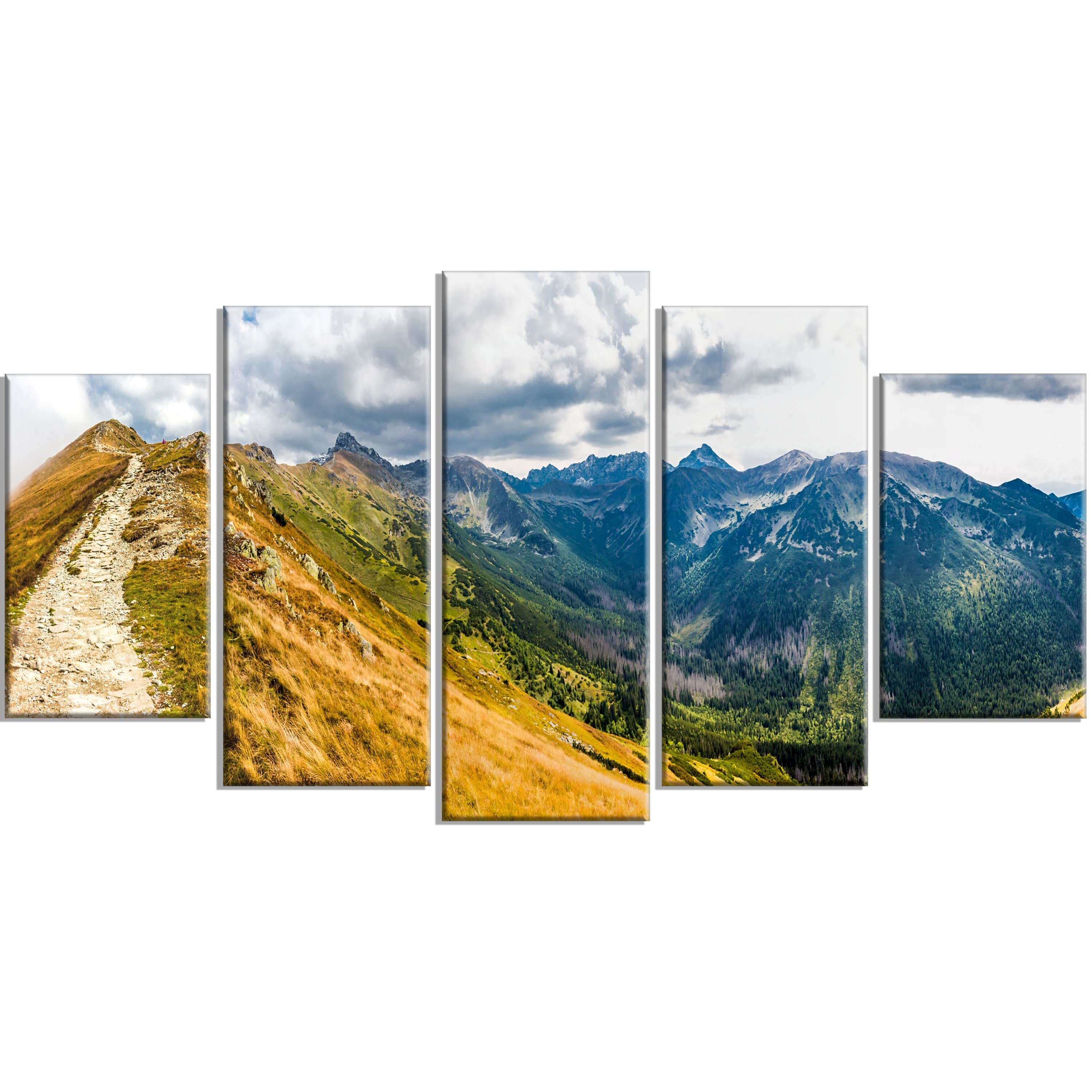 designart 39 low tatras hike panorama 39 5 piece wall art on wrapped canvas set wayfair. Black Bedroom Furniture Sets. Home Design Ideas