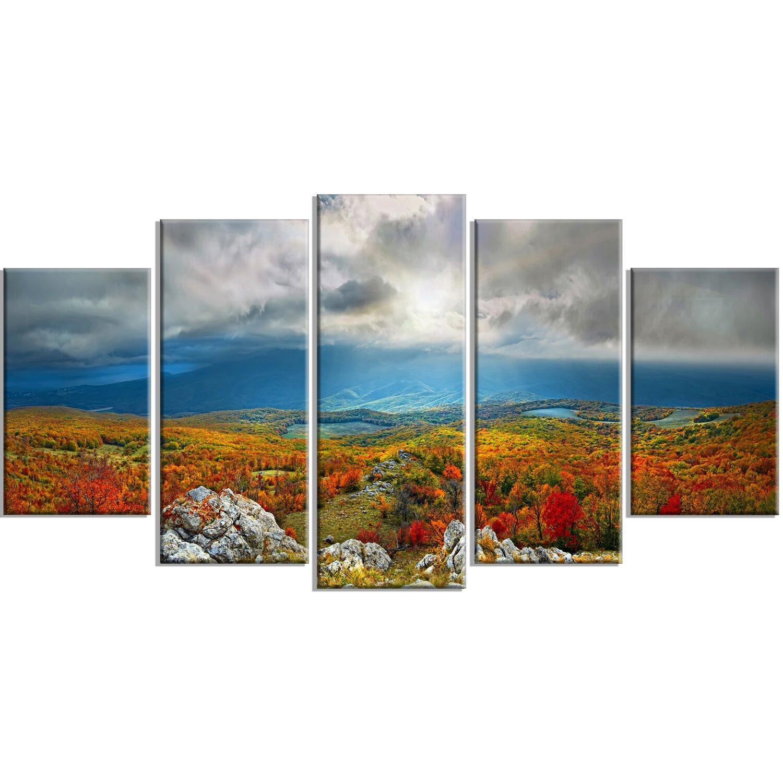 designart 39 autumn in crimean mountains 39 5 piece wall art on wrapped canvas set wayfair. Black Bedroom Furniture Sets. Home Design Ideas