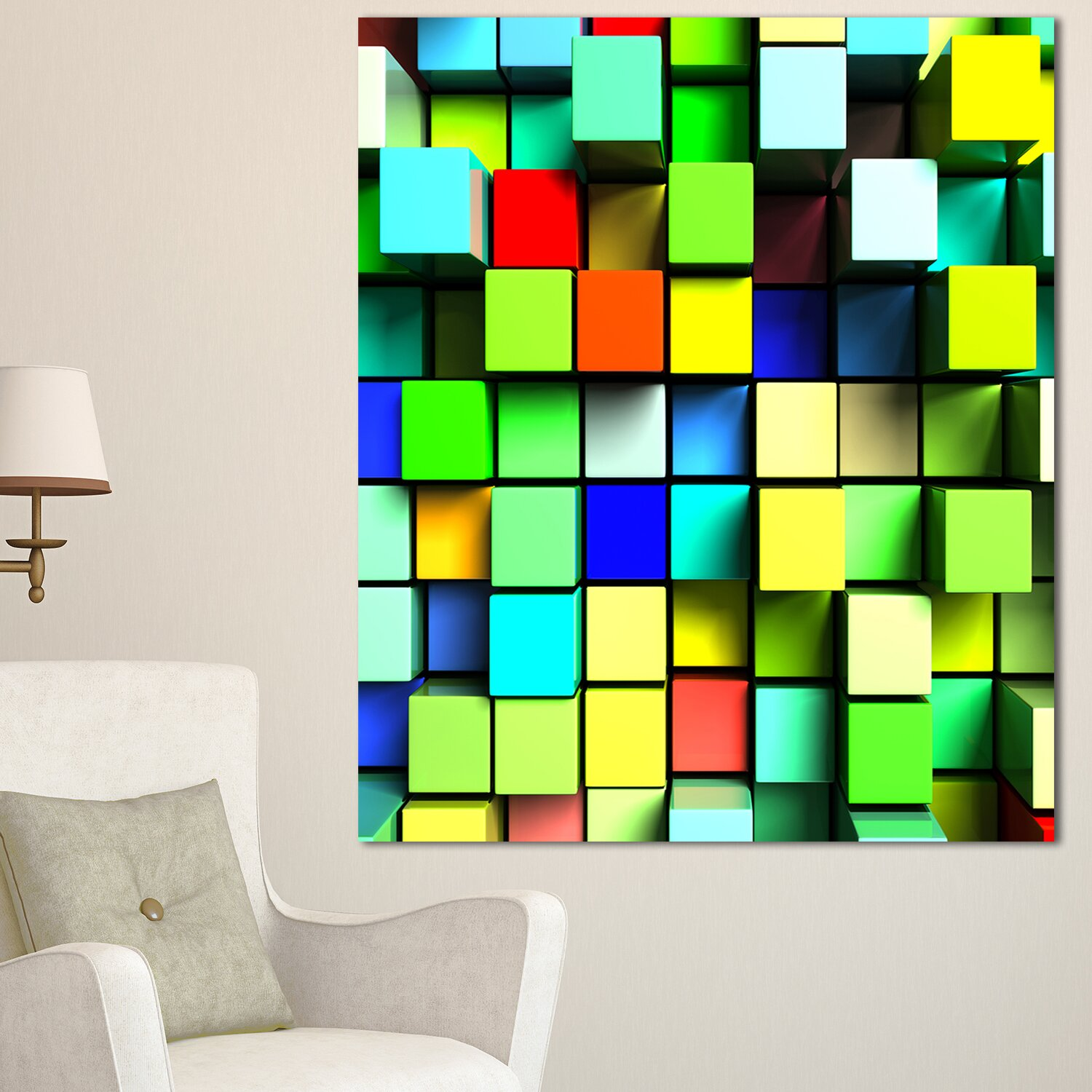DesignArt Colored 3D Cubes Wall Design Graphic Art on