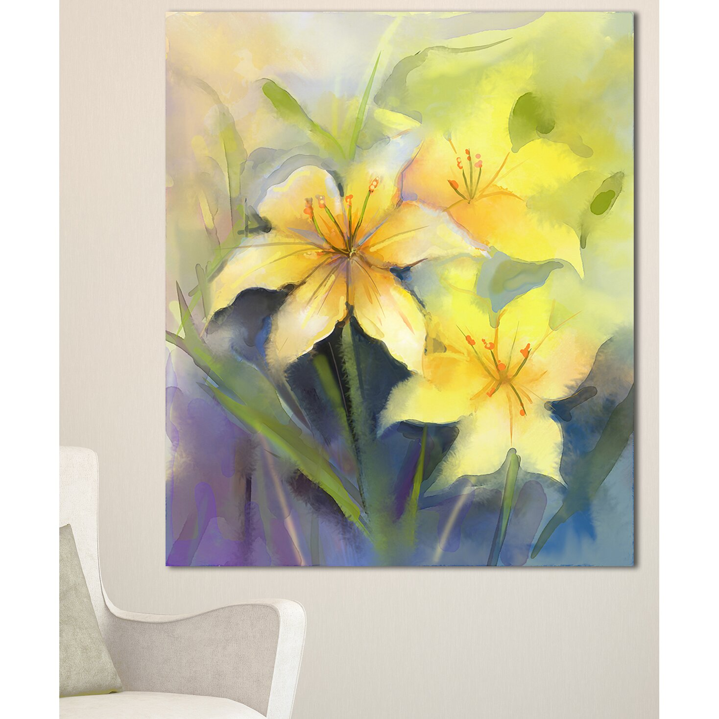 Cabbage Rose Flower Print Purple Abstract Art Kitchen Wall: DesignArt 'Watercolor Painting Yellow Lily Flower