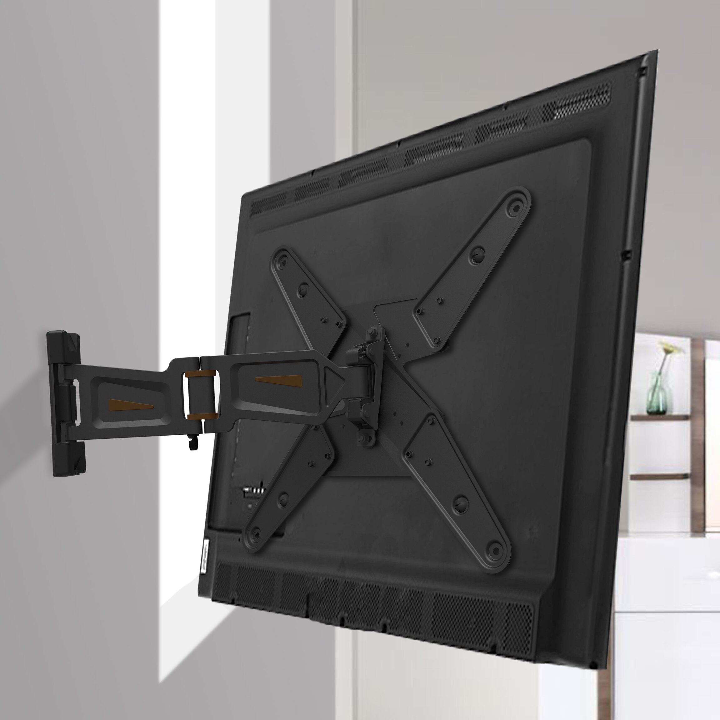 Gforce full motion tv wall mount for 23 55 flat panel for Tv wall mount reviews