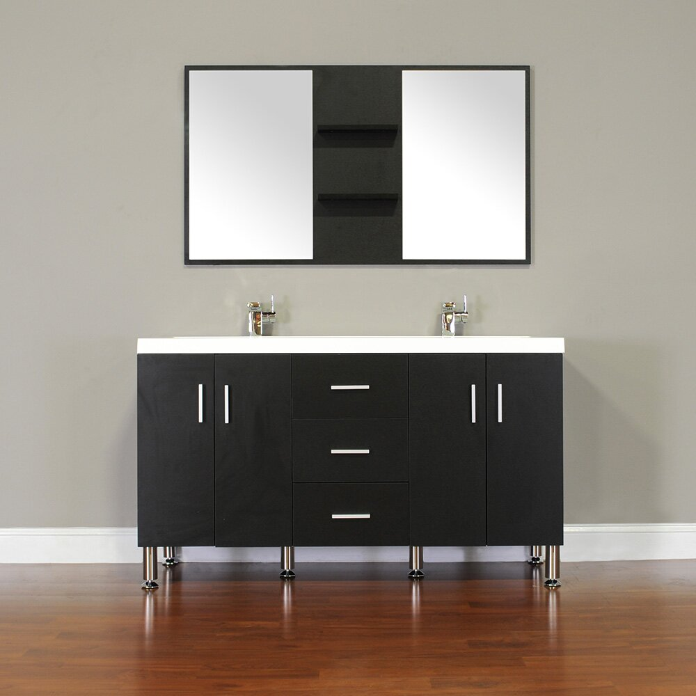 Alya Bath Ripley 56 Double Modern Bathroom Vanity Set With Mirror