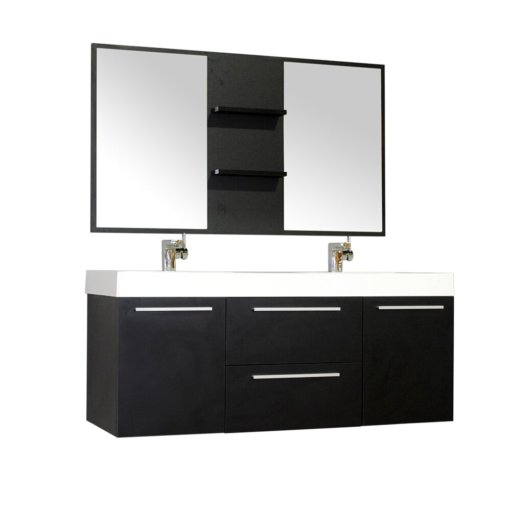 Alya bath ripley 54 double wall mount modern bathroom vanity set with mirror reviews wayfair - Kona modern bathroom vanity set ...