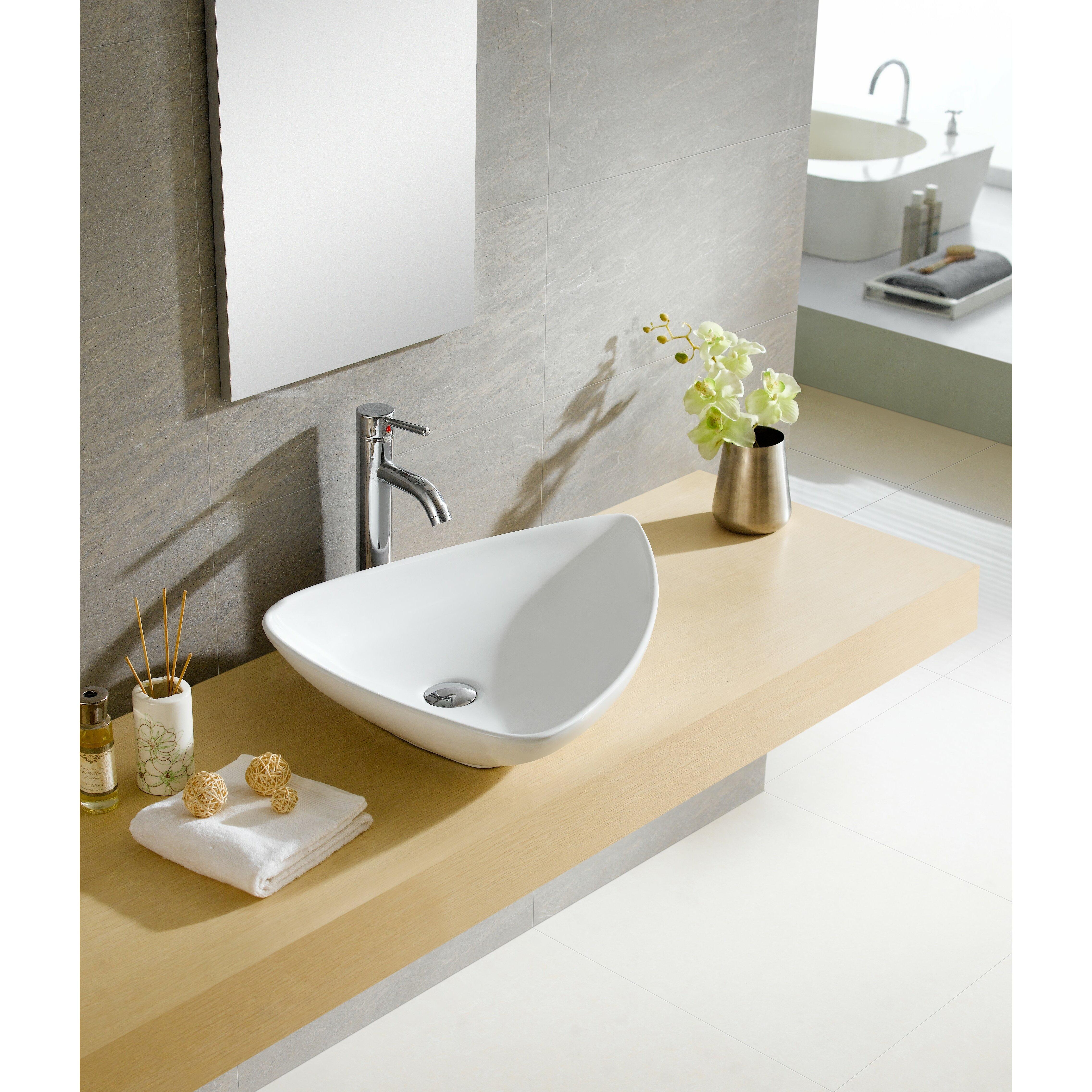 Fine Fixtures Modern Vitreous Triangular Vessel Sink Vessel Bathroom Sink Reviews Wayfair