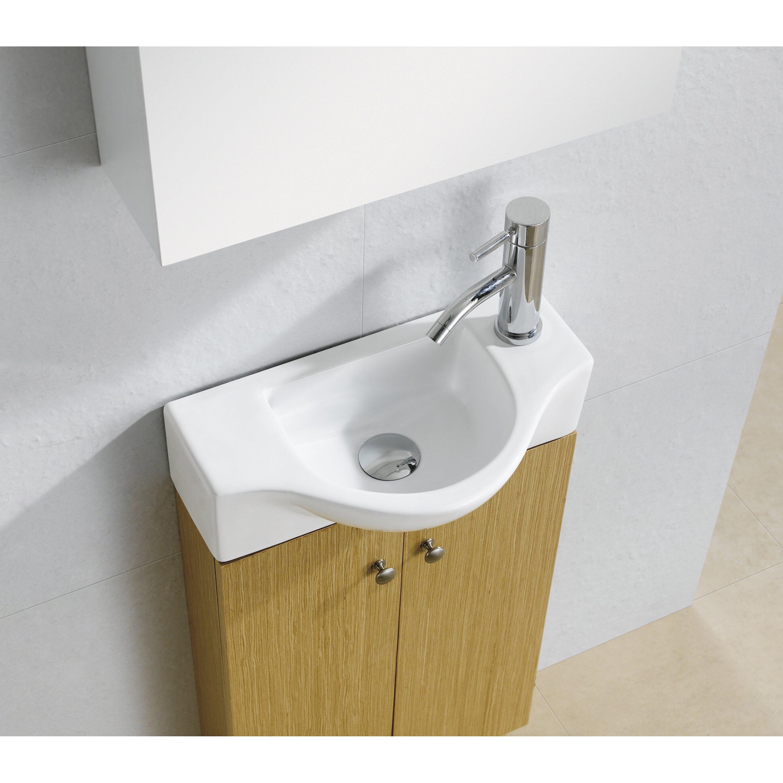"Stylish Bathroom Sinks: Fine Fixtures 17.6"" Modern Vitreous D Shaped Wall Hung"