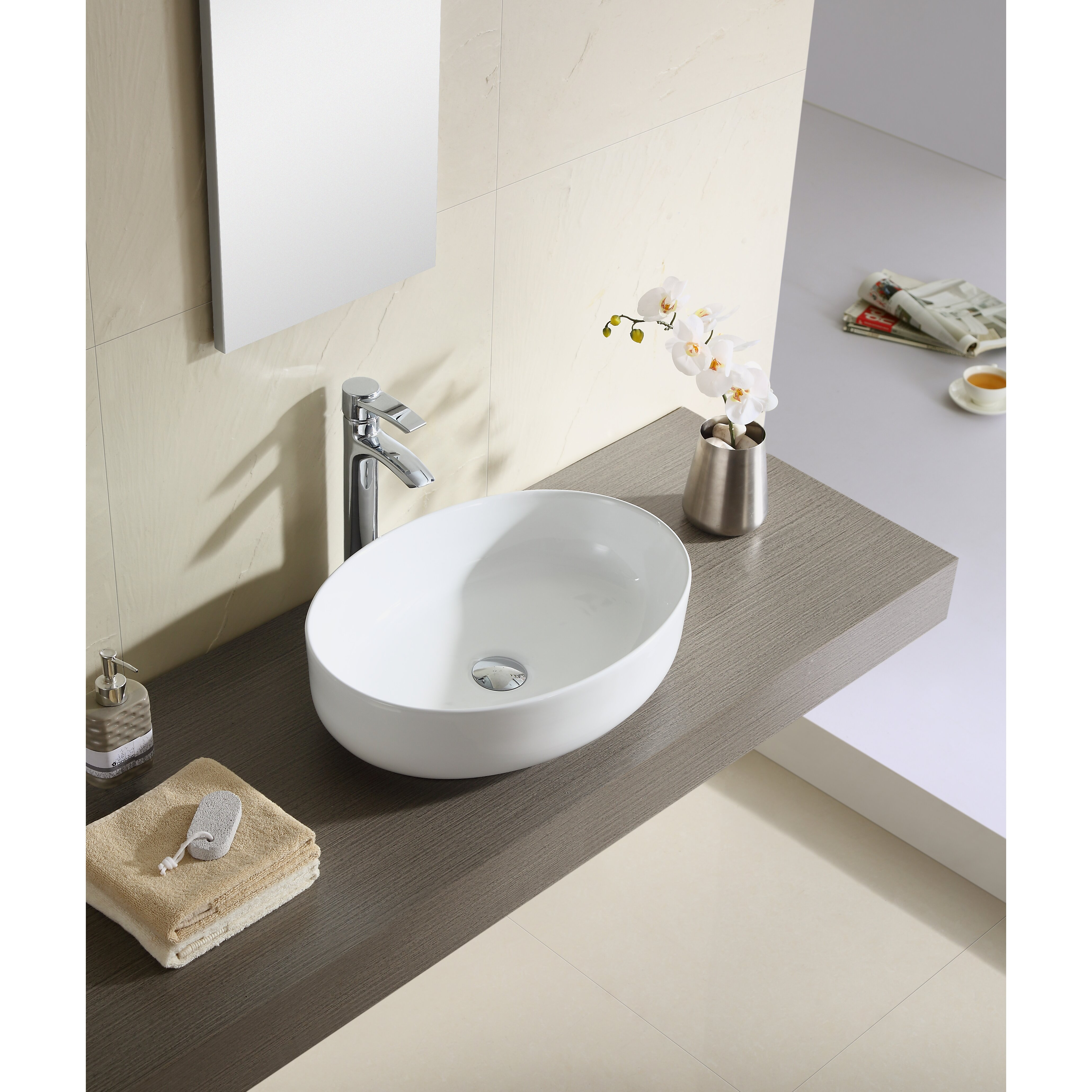 Thin Sink : Thin Edge Vessel Sink Vitreous China Round Thin Edge Vessel Sink ...