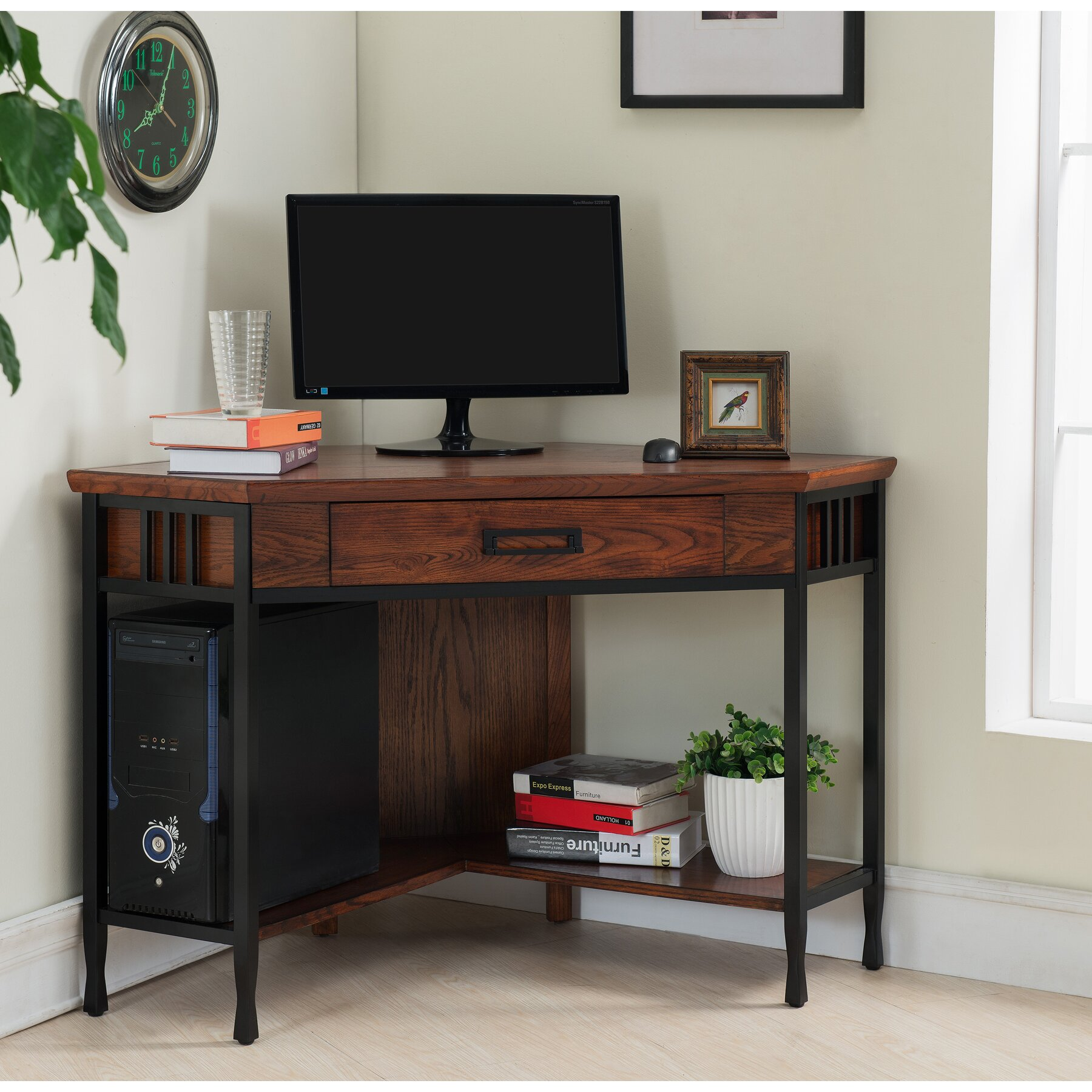 Leick ironcraft computer desk reviews wayfair for Furniture 2 day shipping