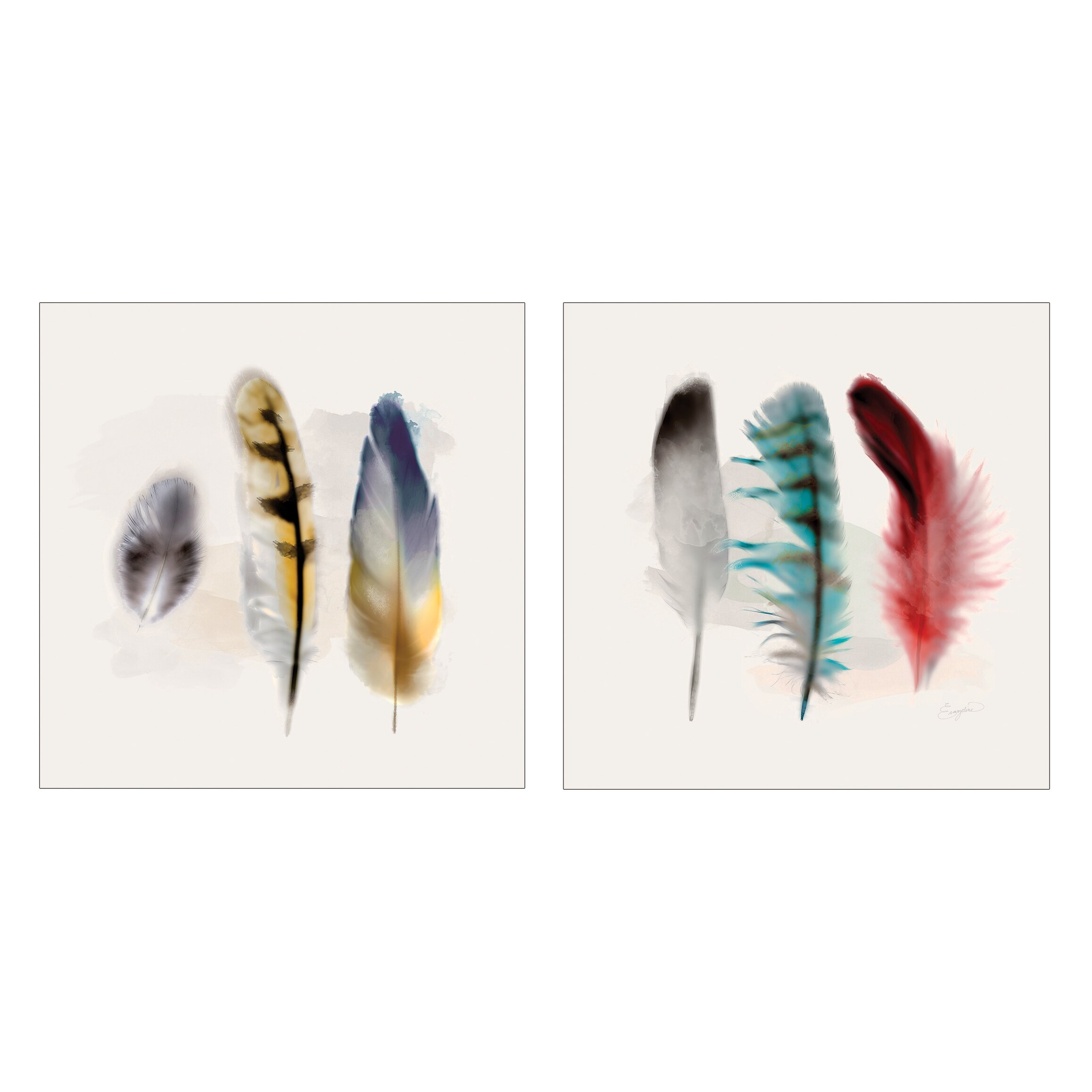 Kate and laurel 39 three feather study 39 by evangeline taylor for Painting feathers on canvas
