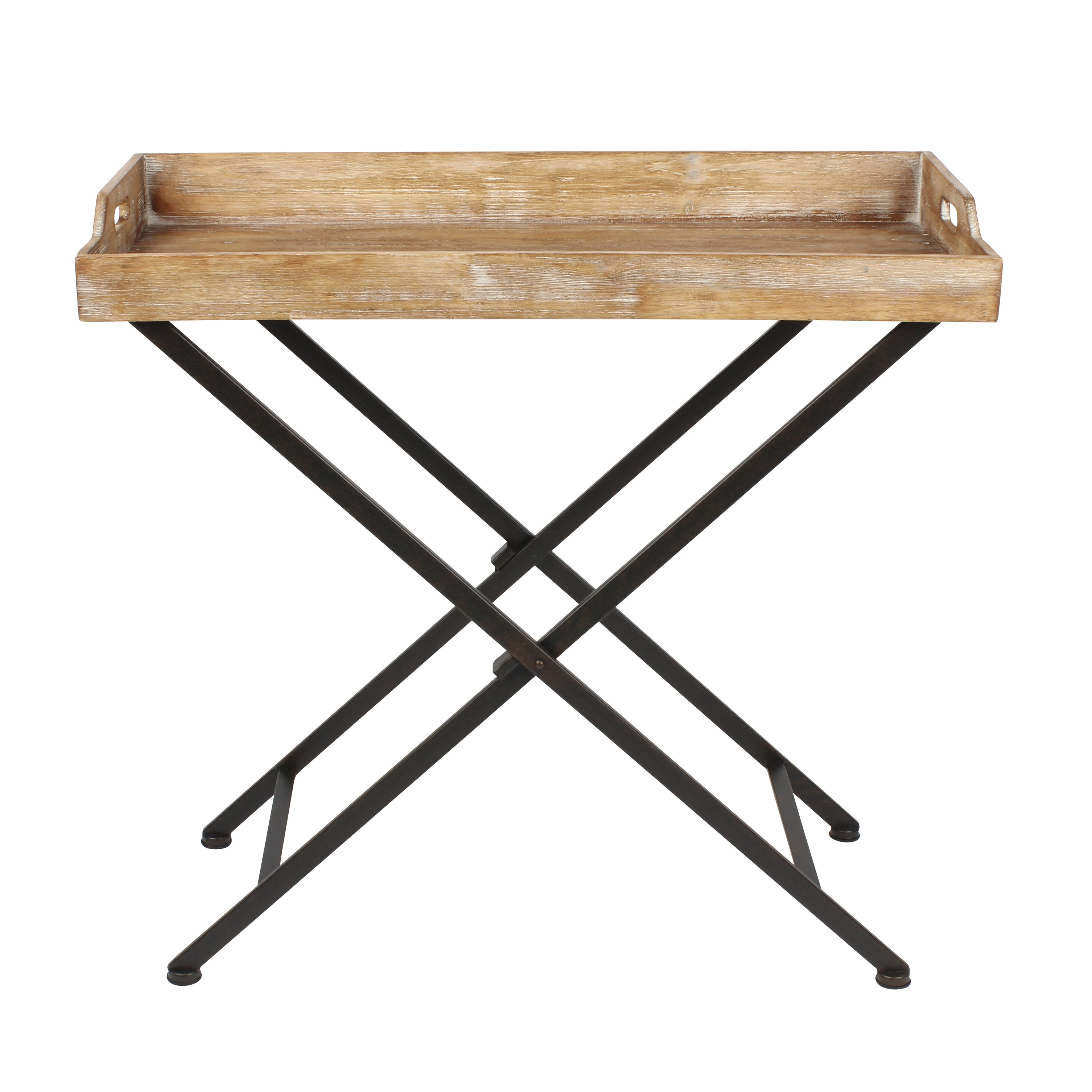 Kate and laurel marmora metal end table wayfair for Rustic iron table legs