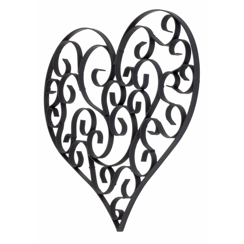 bayaccents wrought iron heart wall decor reviews wayfair. Black Bedroom Furniture Sets. Home Design Ideas
