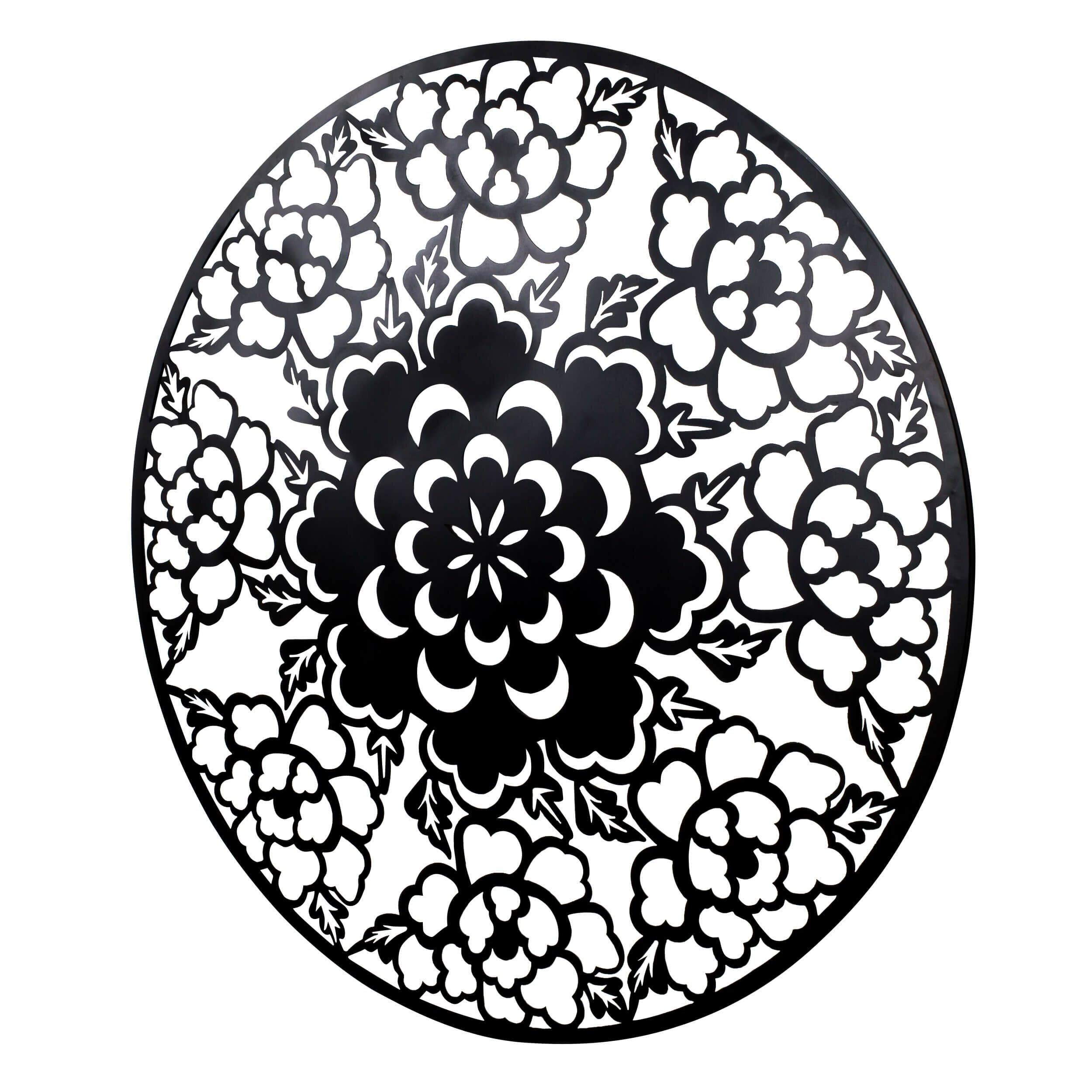 Round Black Wall Decor : Bayaccents round floral metal wall d?cor wayfair