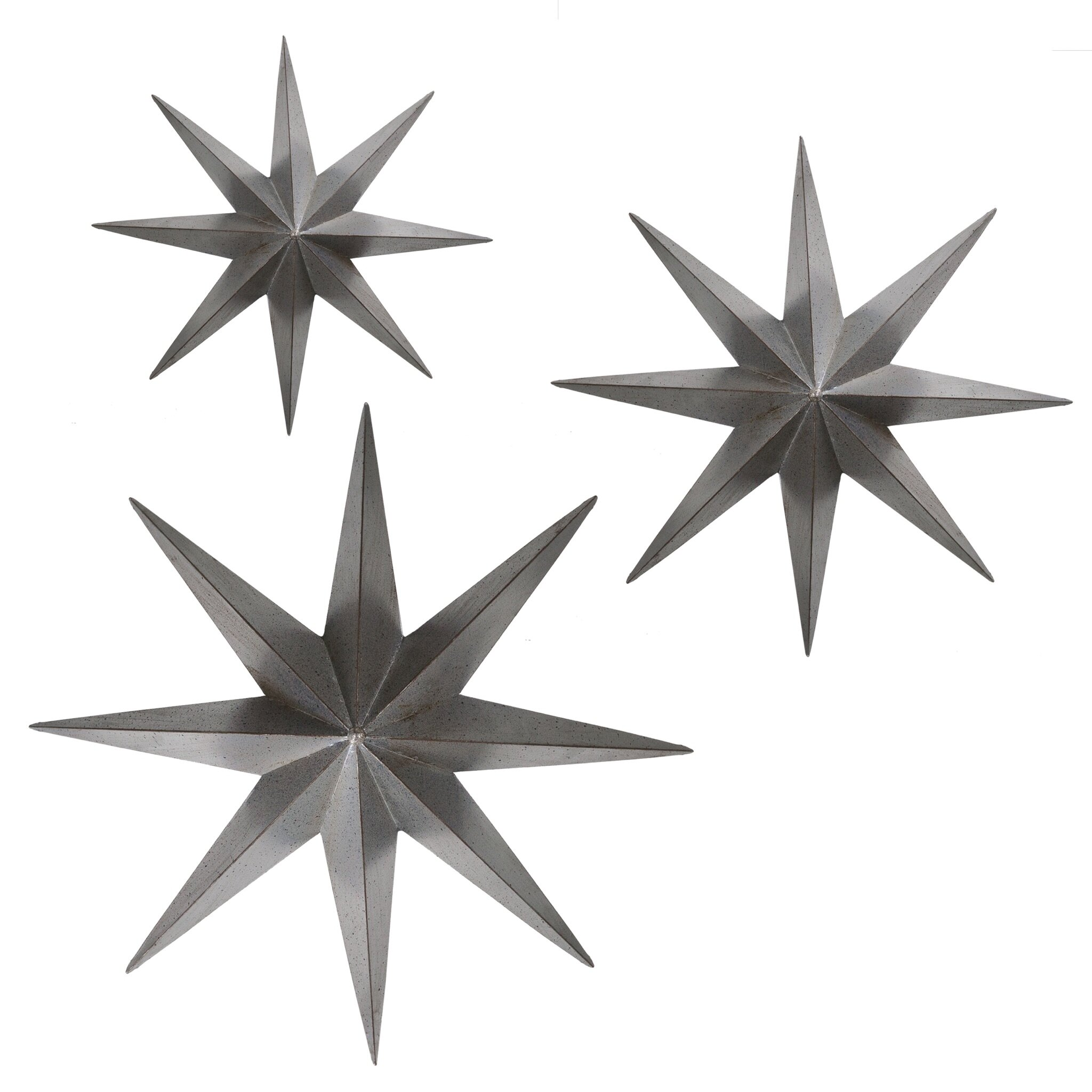 bayaccents 3 piece metal stars wall d cor set wayfair. Black Bedroom Furniture Sets. Home Design Ideas