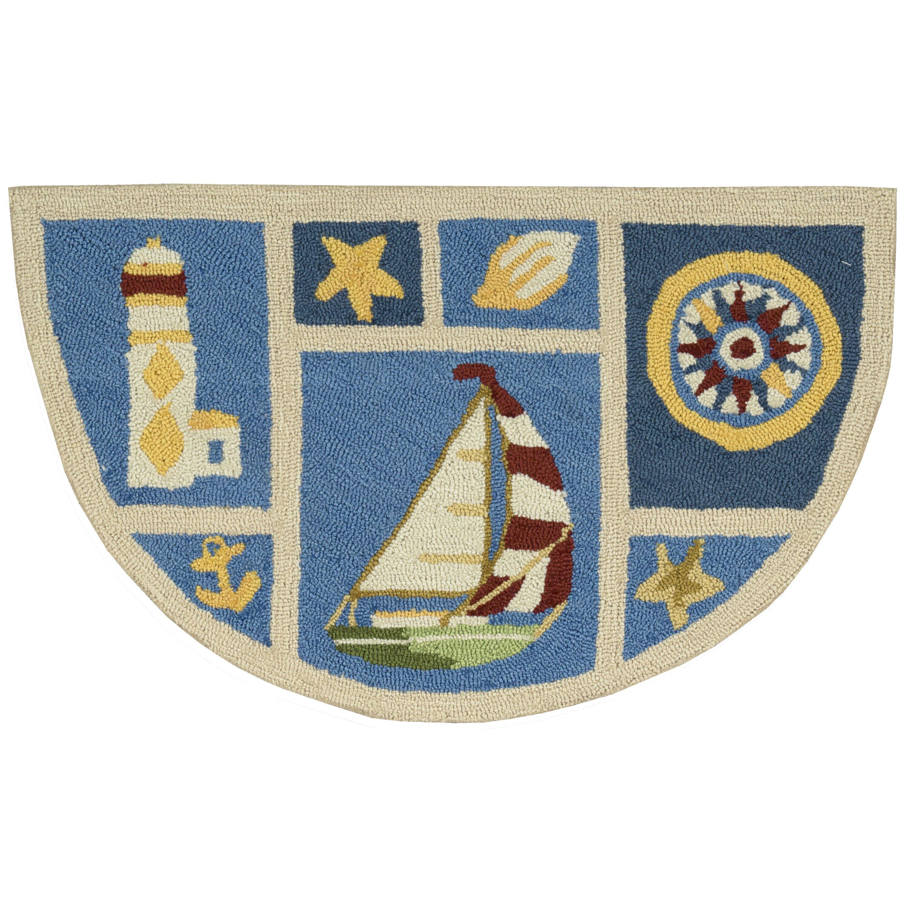 Nautical Blue Rug: Breakwater Bay Milbridge Blue Nautical Area Rug & Reviews