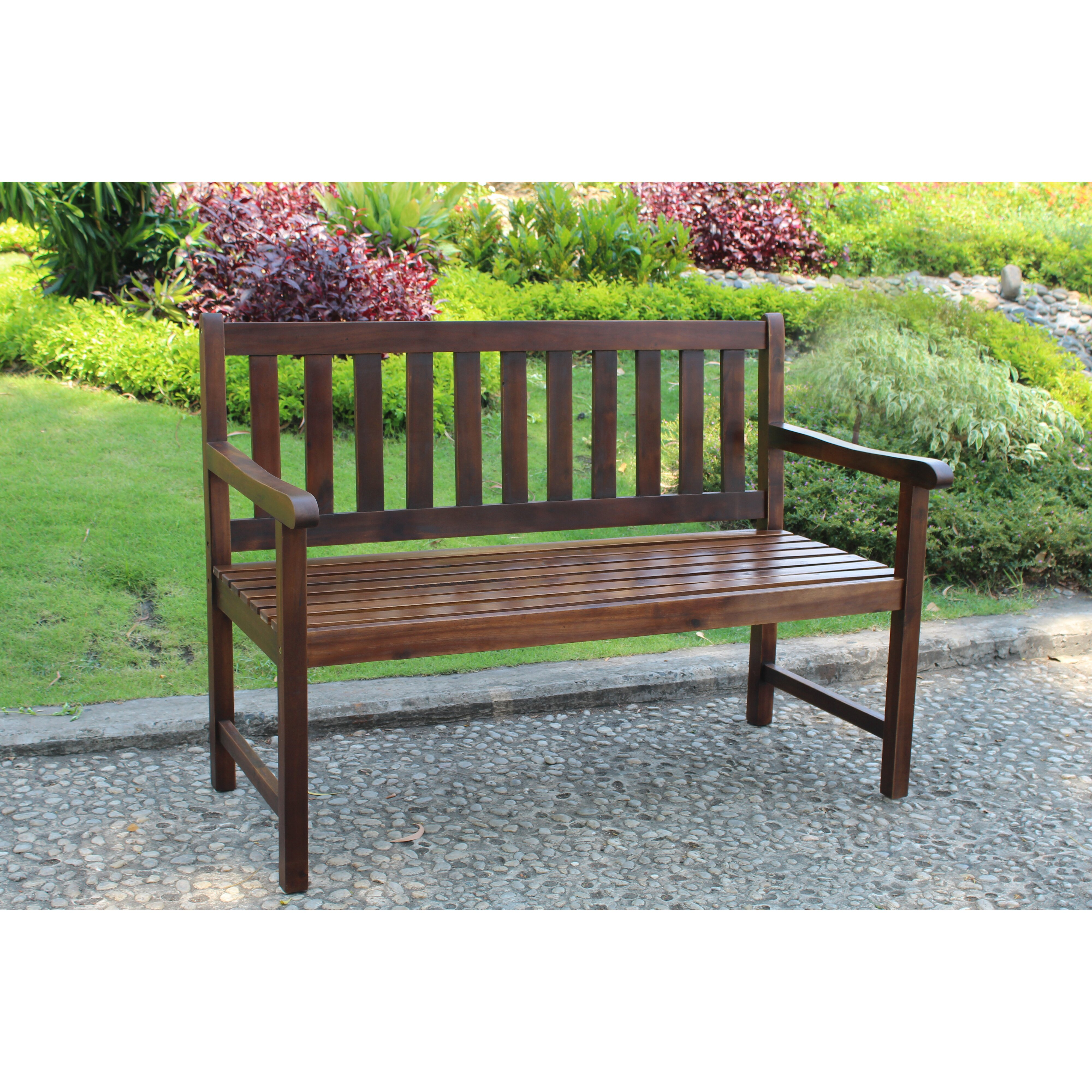 Wooden Benches Outdoor: Breakwater Bay Sandy Point Acacia Wood Garden Bench
