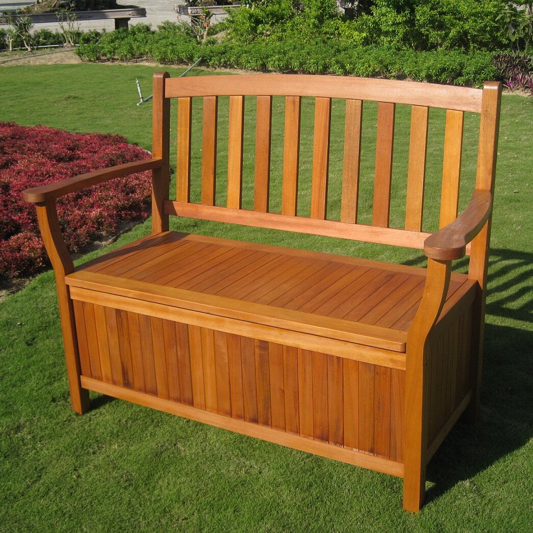 Breakwater Bay Sabbattus Outdoor Wood Storage Bench Reviews Wayfair