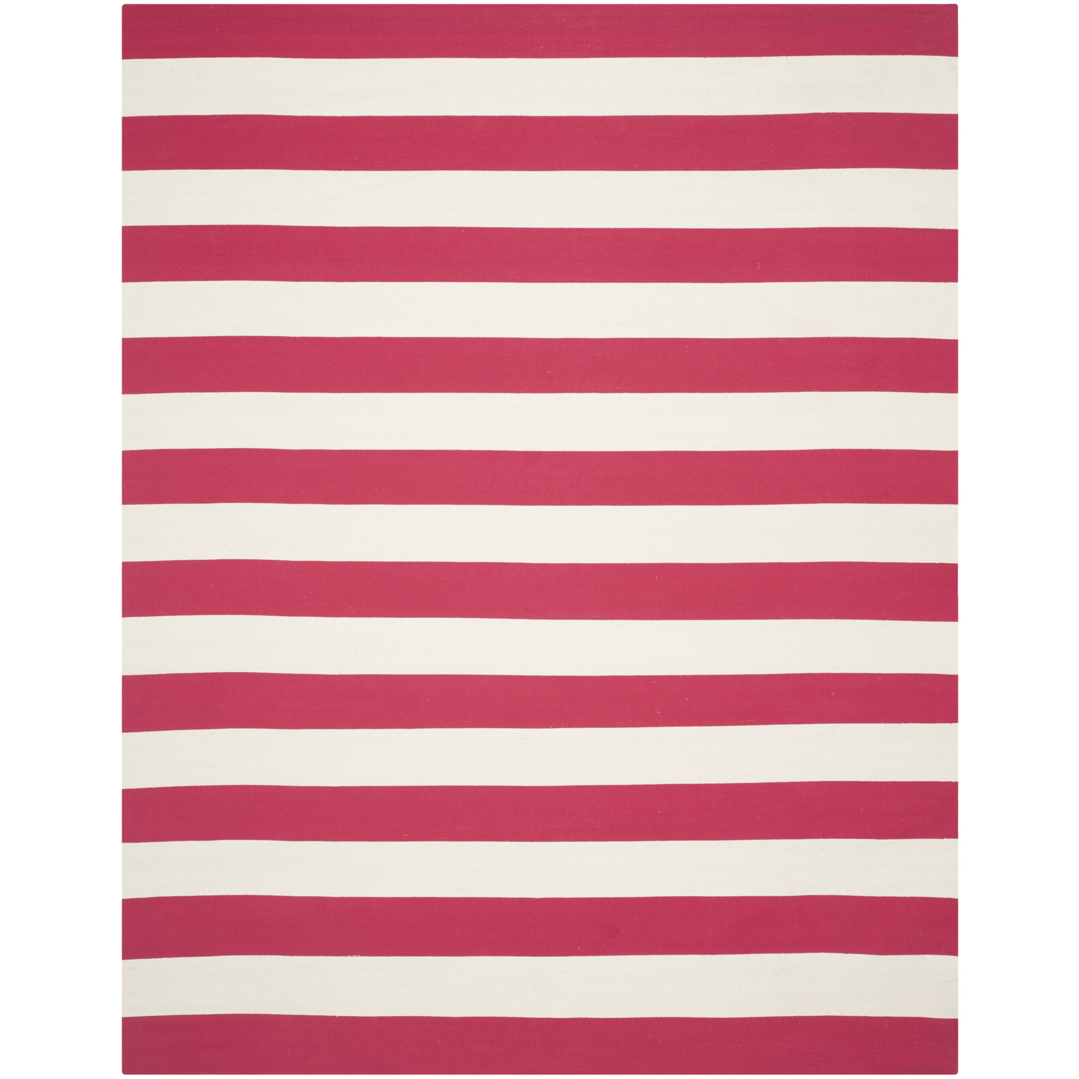 Breakwater bay beechwood red white striped contemporary for Red and white striped area rug
