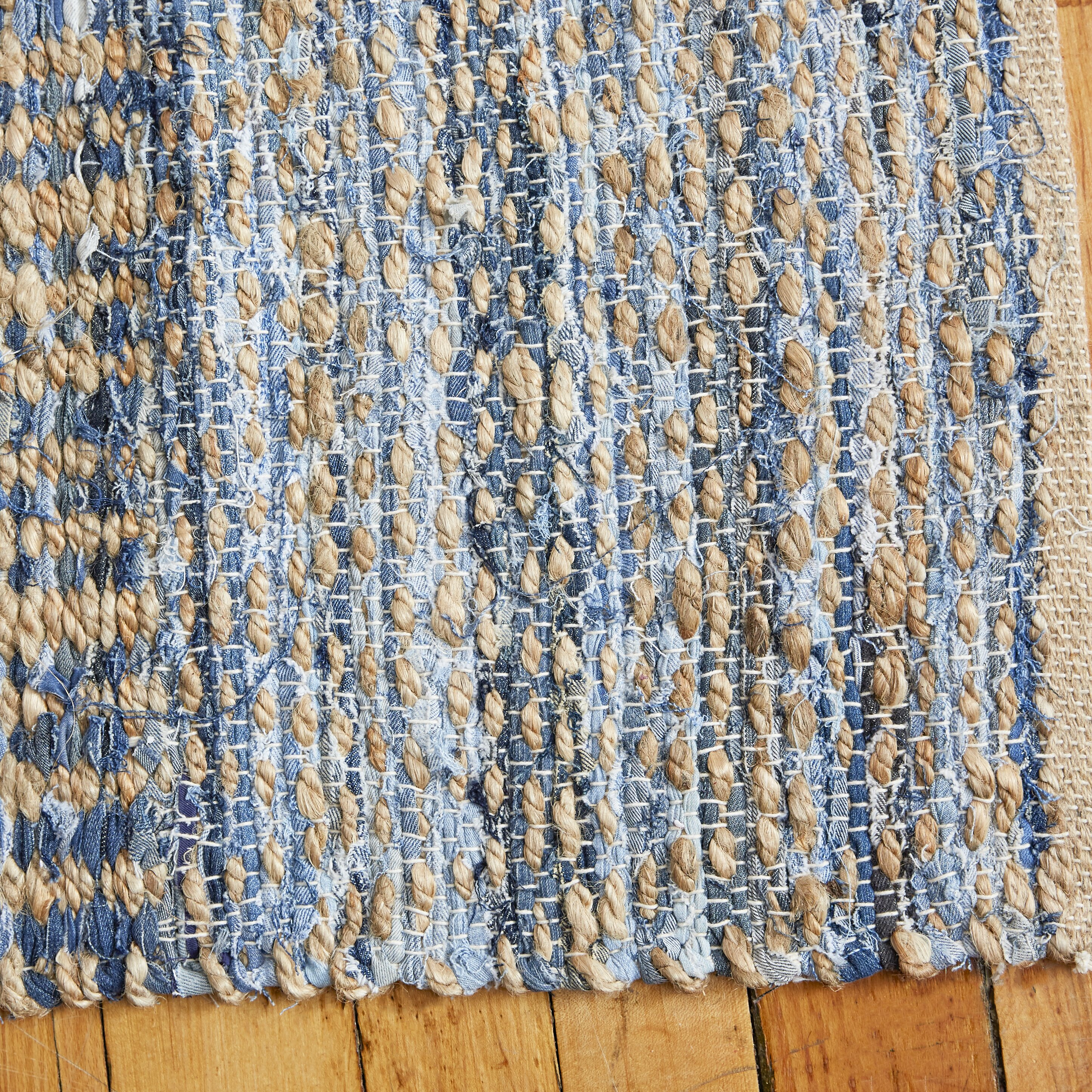 Breakwater Bay Cromwell Hand Woven Natural Blue Area Rug