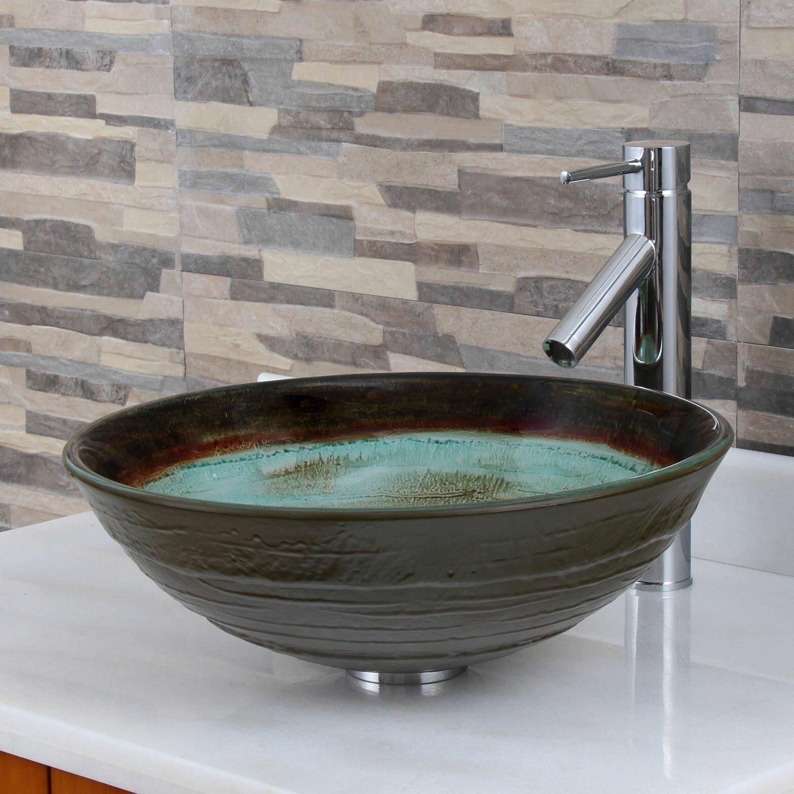 Elimaxs elite black coffee and cream glass vessel bathroom Black vessel bathroom sink