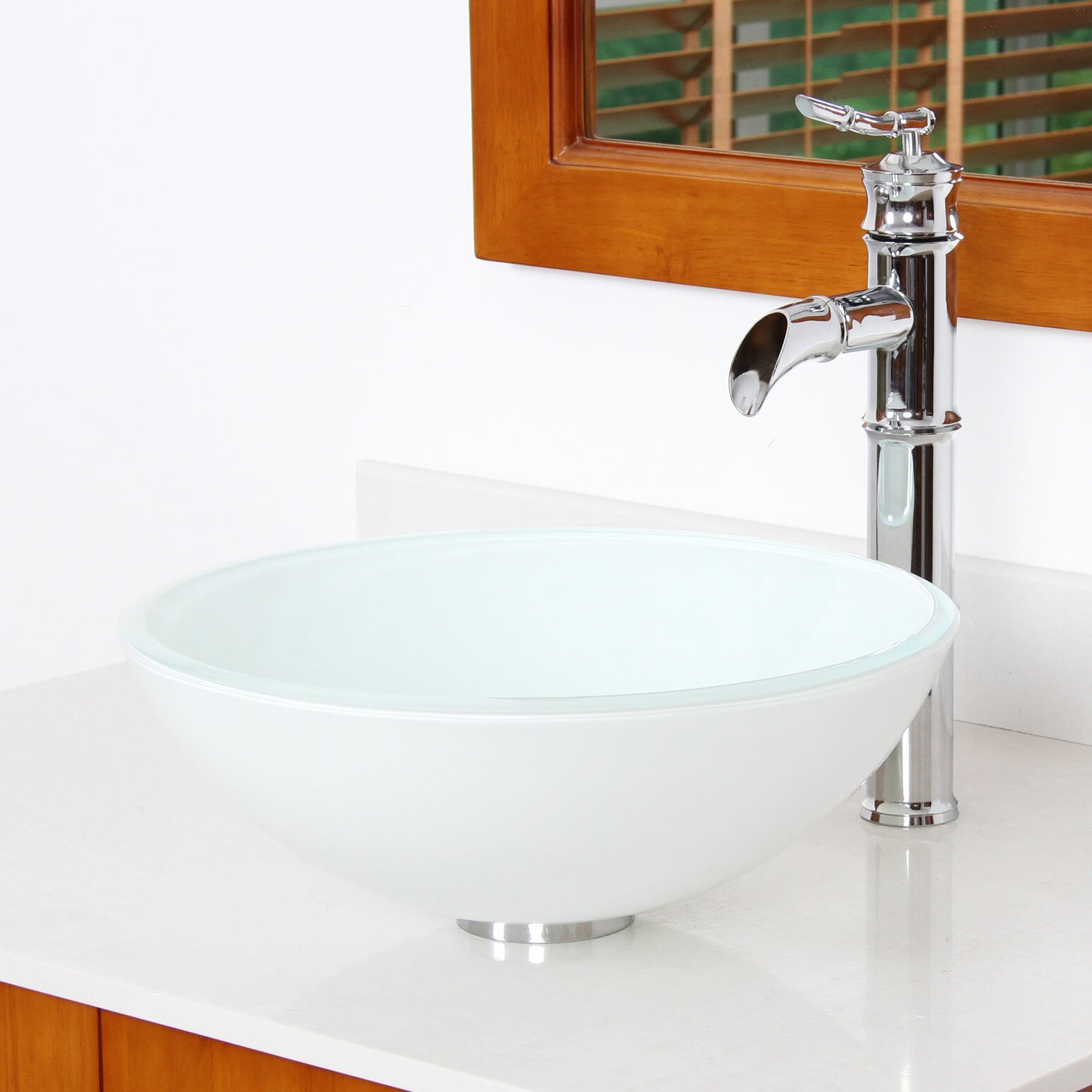 Elimaxs elite double layered white tempered round glass - Bathroom tempered glass vessel sink ...