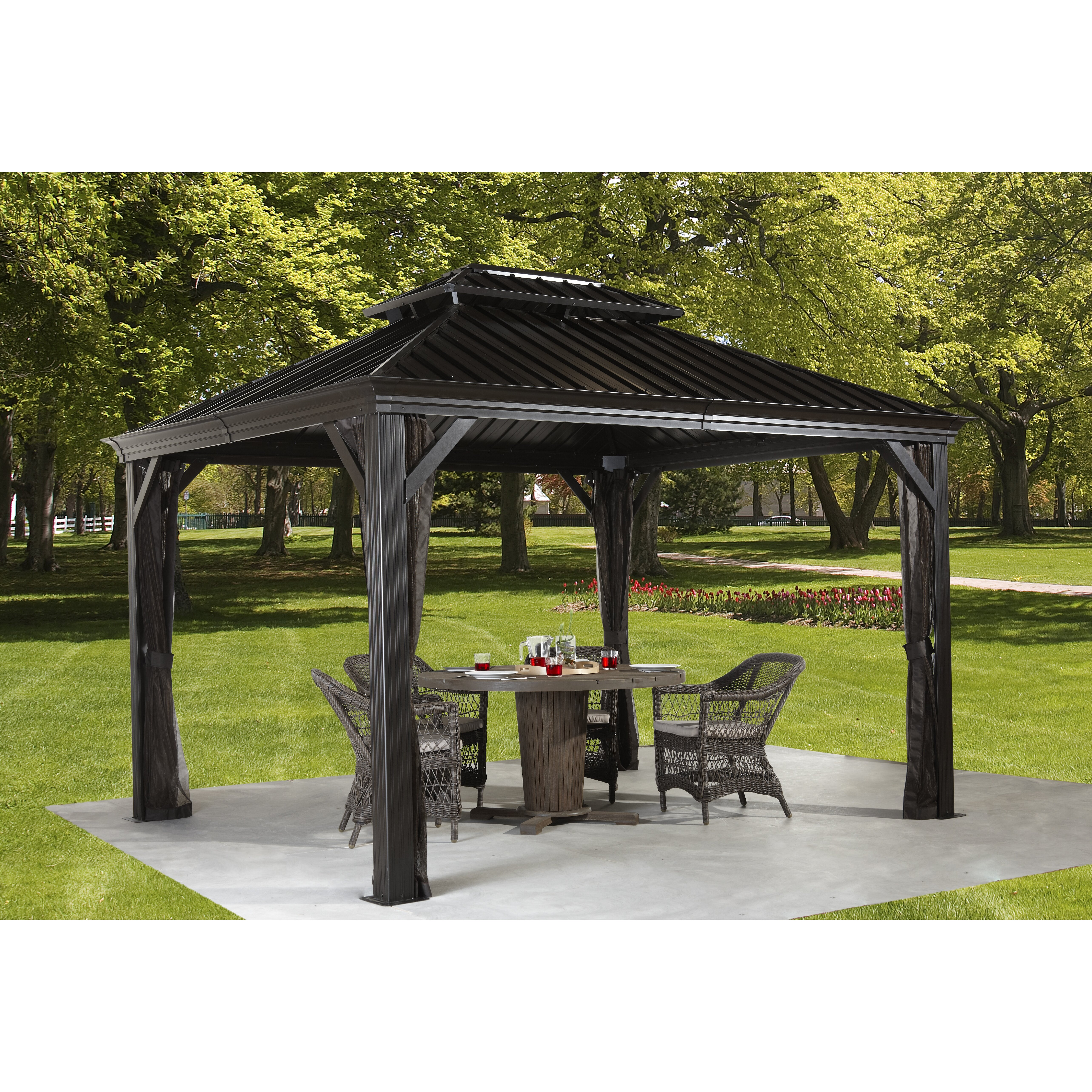 sojag messina 10 ft w x 10 ft d metal permanent gazebo. Black Bedroom Furniture Sets. Home Design Ideas