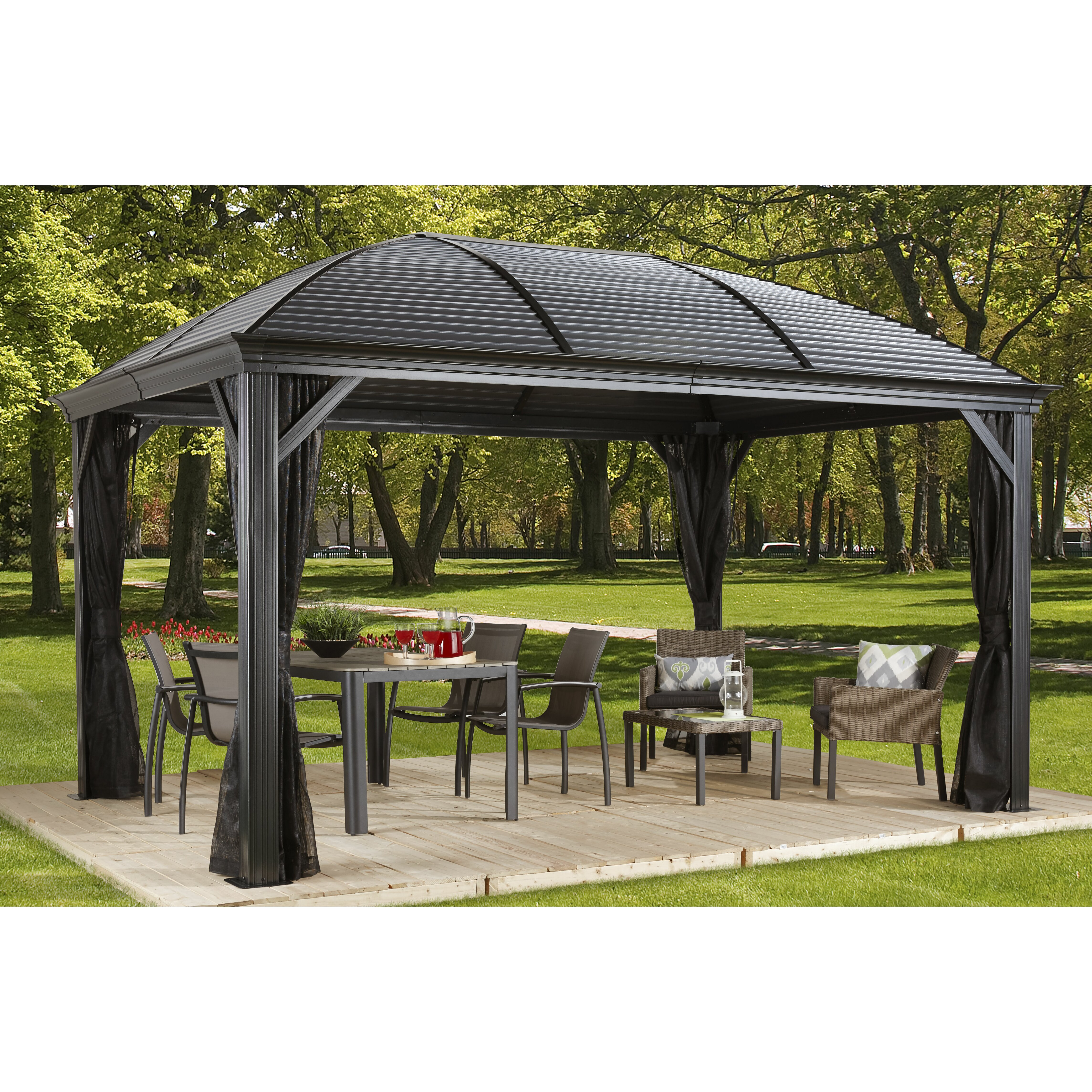 sojag moreno 10 ft w x 12 ft d metal permanent gazebo. Black Bedroom Furniture Sets. Home Design Ideas