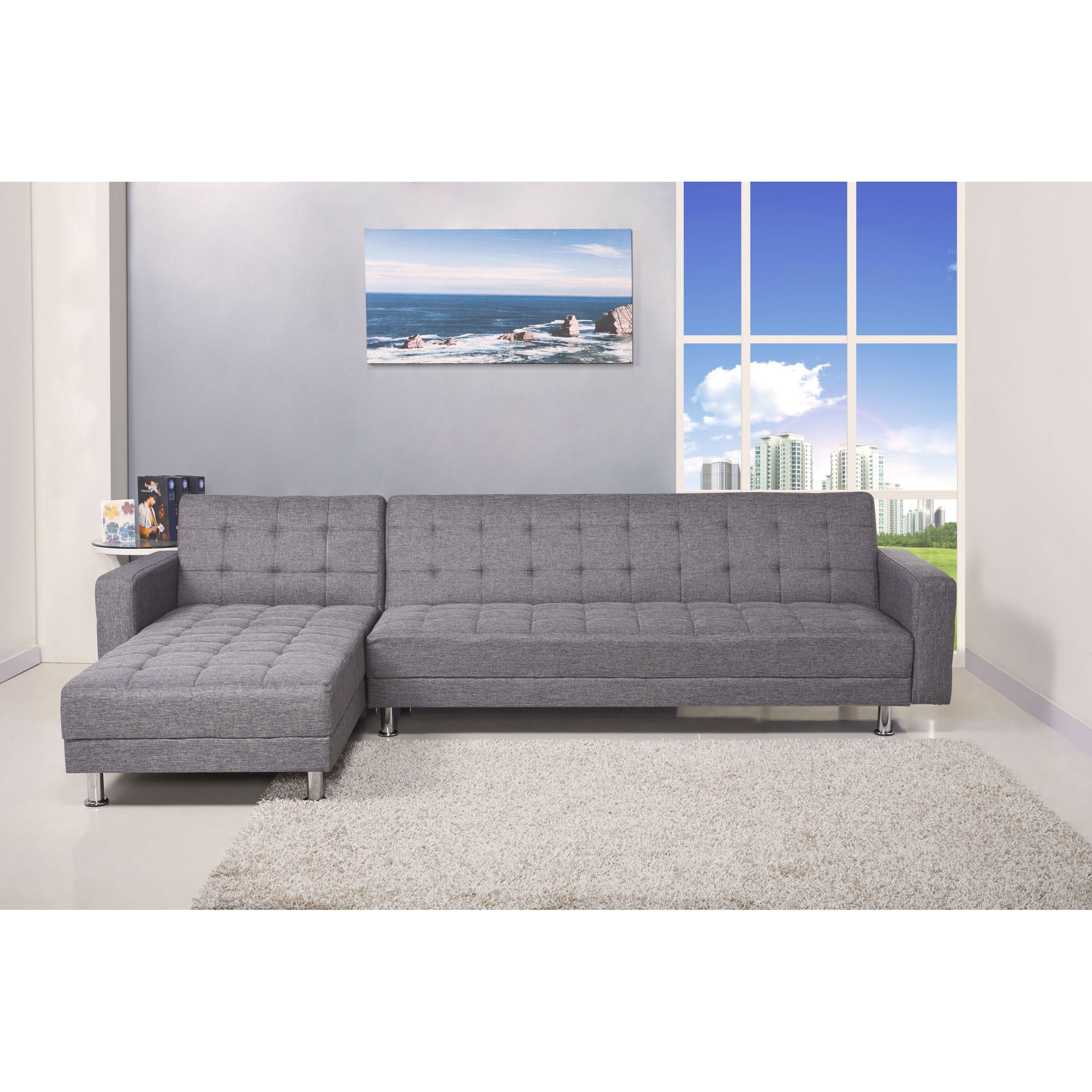 Kaleidoscopefurniture reversible chaise sleeper sectional for Wayfair sectionals