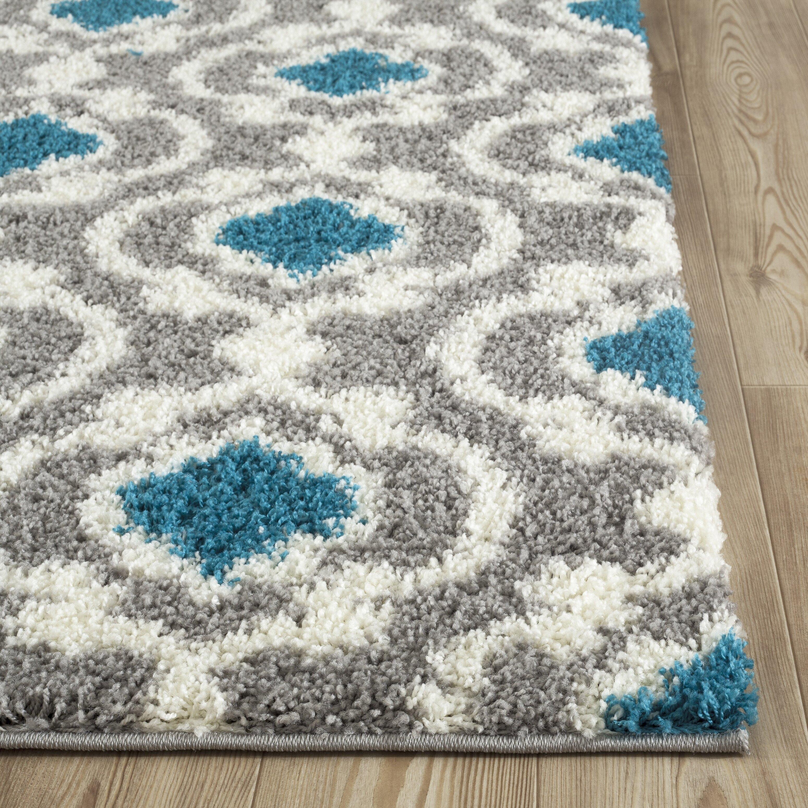 World rug gallery florida gray turquoise area rug for Turquoise area rug