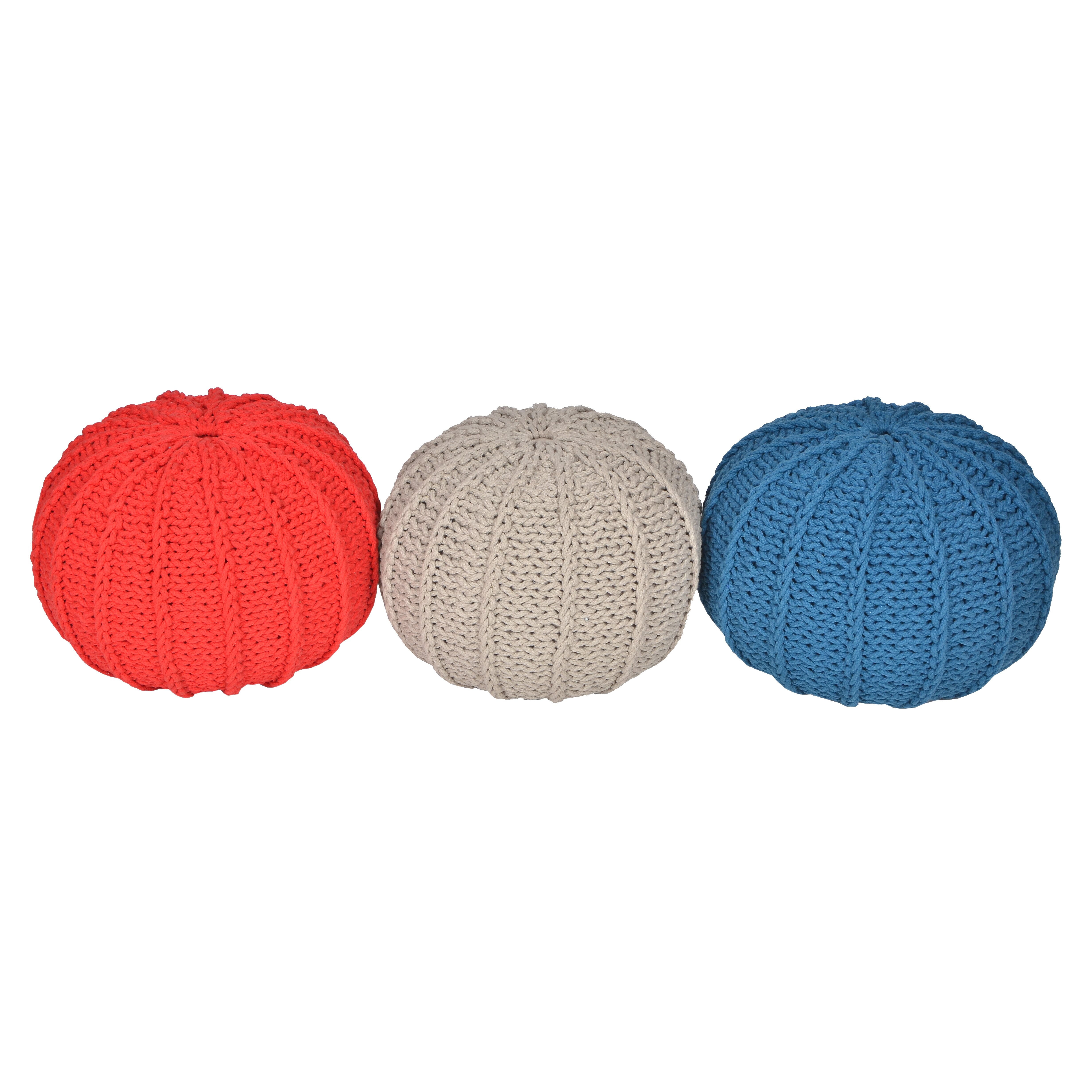 Knitting Pattern For Round Pouf : VCNY Cable Knitted Round Pouf & Reviews Wayfair.ca