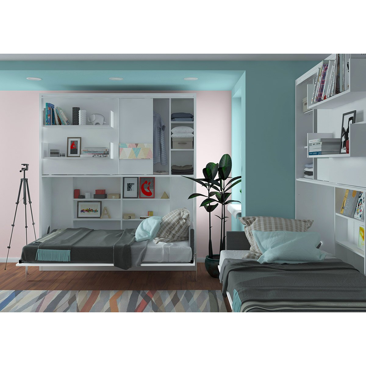 Multimo parete letto wall twin murphy bed wayfair for Parete letto