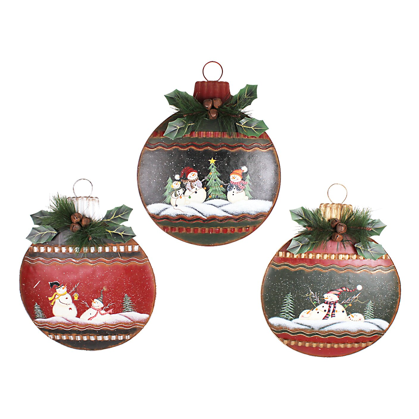 Attractiondesignhome christmas hanging 3 piece large for Hanging christmas decorations