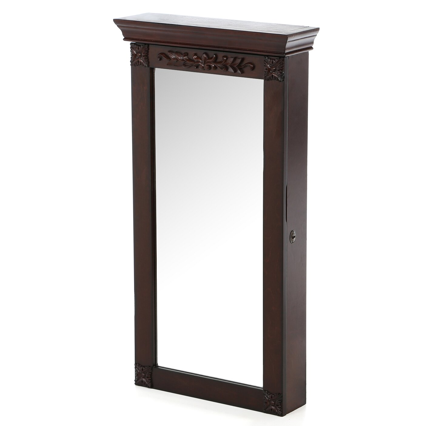 Rosalind wheeler cheetham wall mount jewelry armoire with for Wall mounted mirror