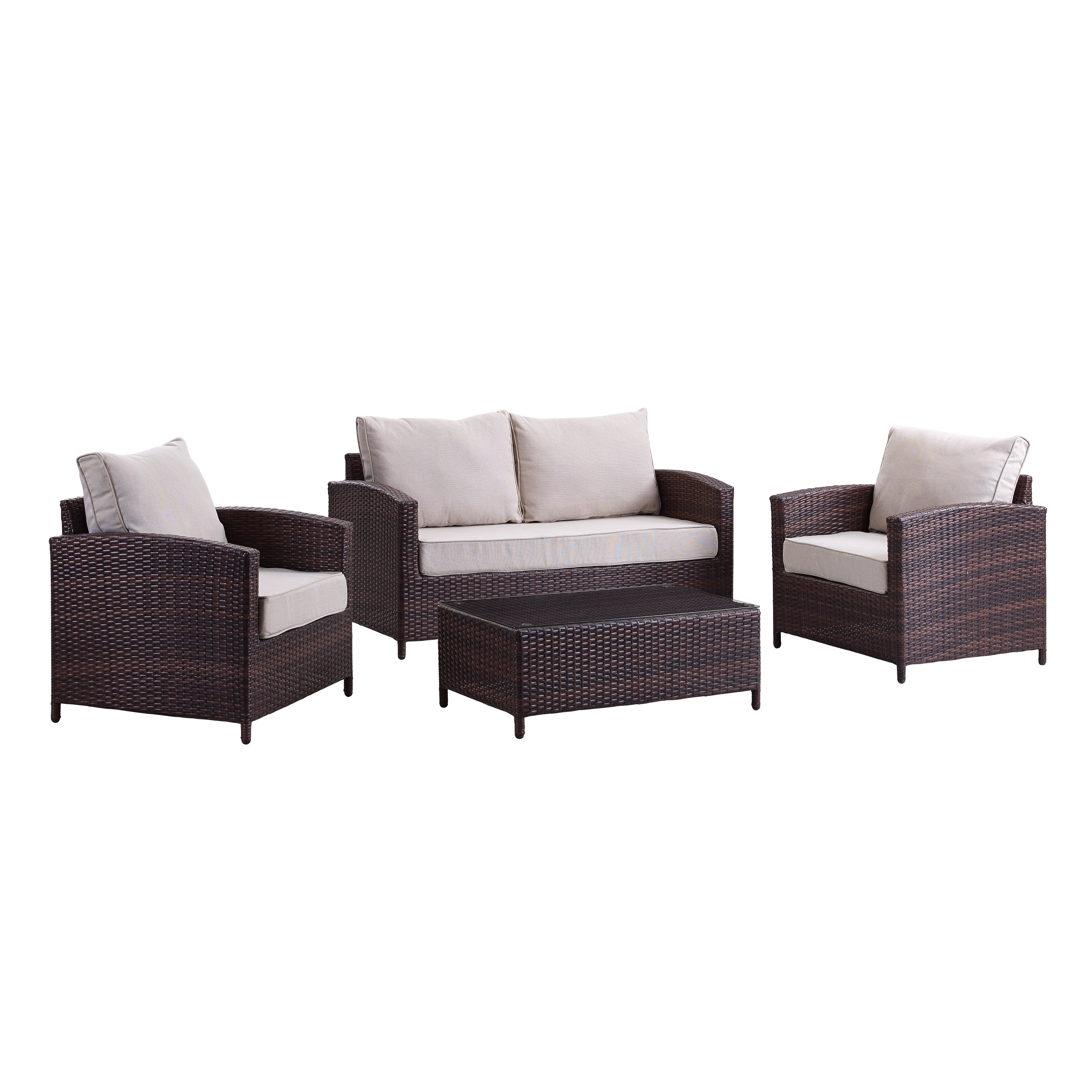 Bay isle home petunia 4 piece deep seating group with for Home piece